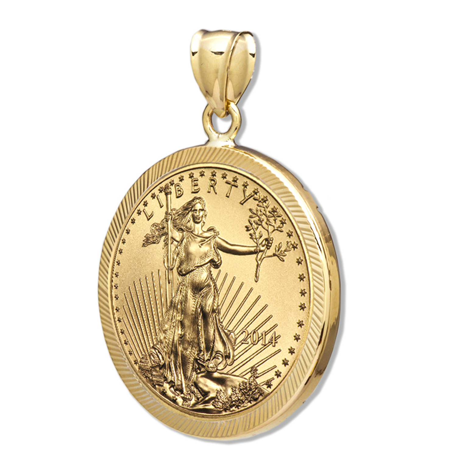 2014 1/2 oz Gold Eagle Pendant (Diamond-Prong Bezel)