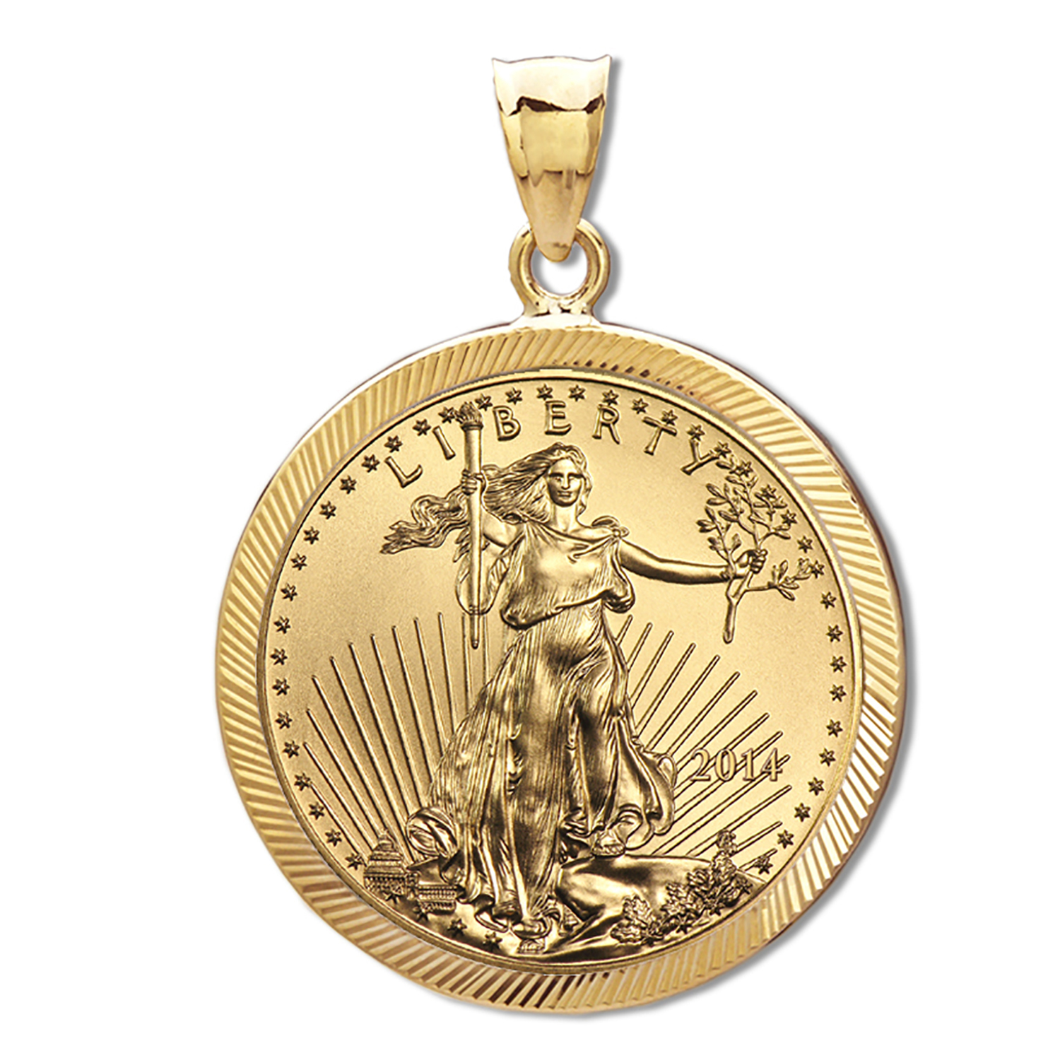 2014 1/4 oz Gold Eagle Pendant (Diamond-Prong Bezel)