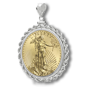 2014 1/4 oz Gold Eagle White Gold Pendant (Rope-ScrewTop Bezel)