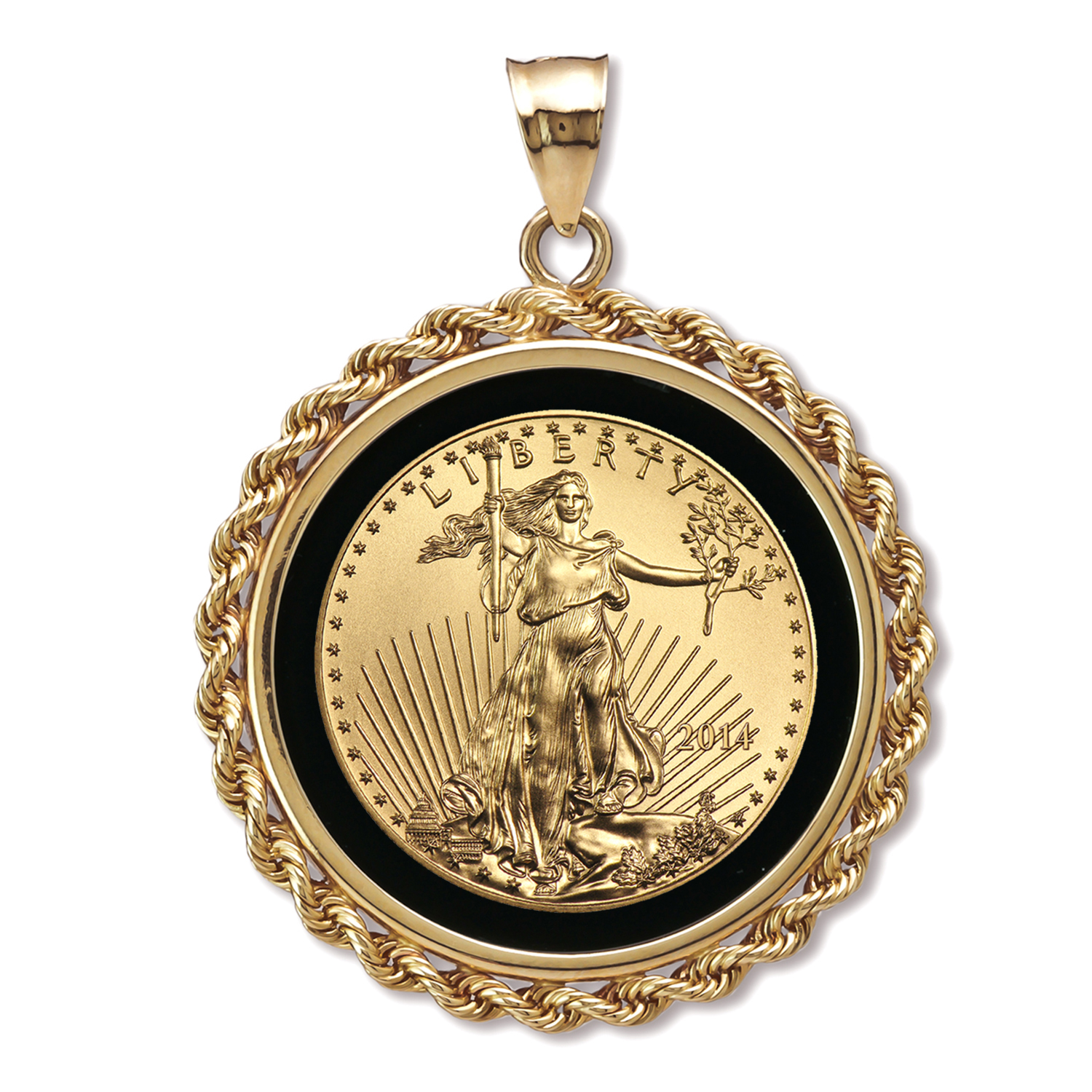 2014 1/4 oz Gold Eagle Pendant (Onyx Rope Bezel)