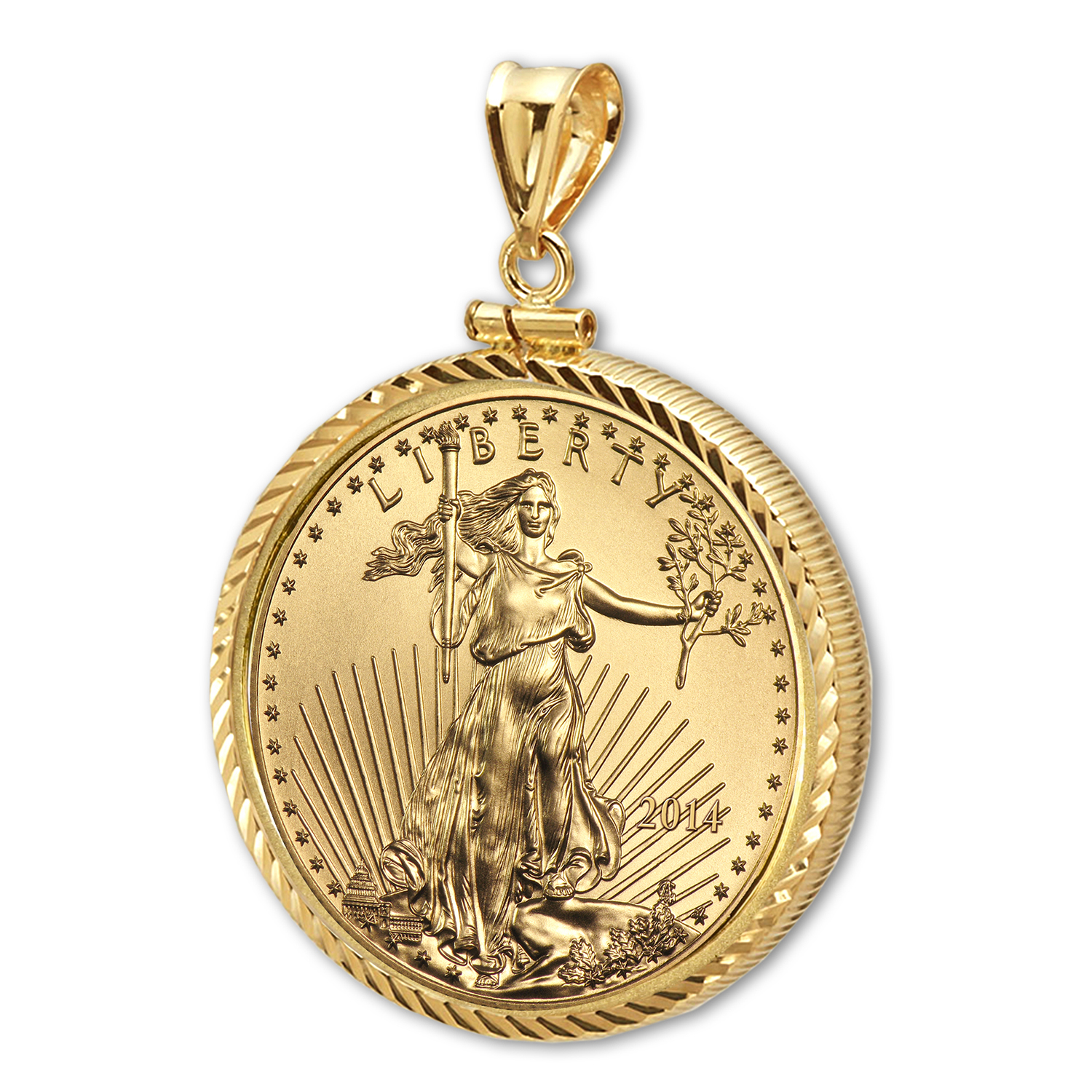 2014 1/10 oz Gold Eagle Pendant (Diamond-ScrewTop Bezel)
