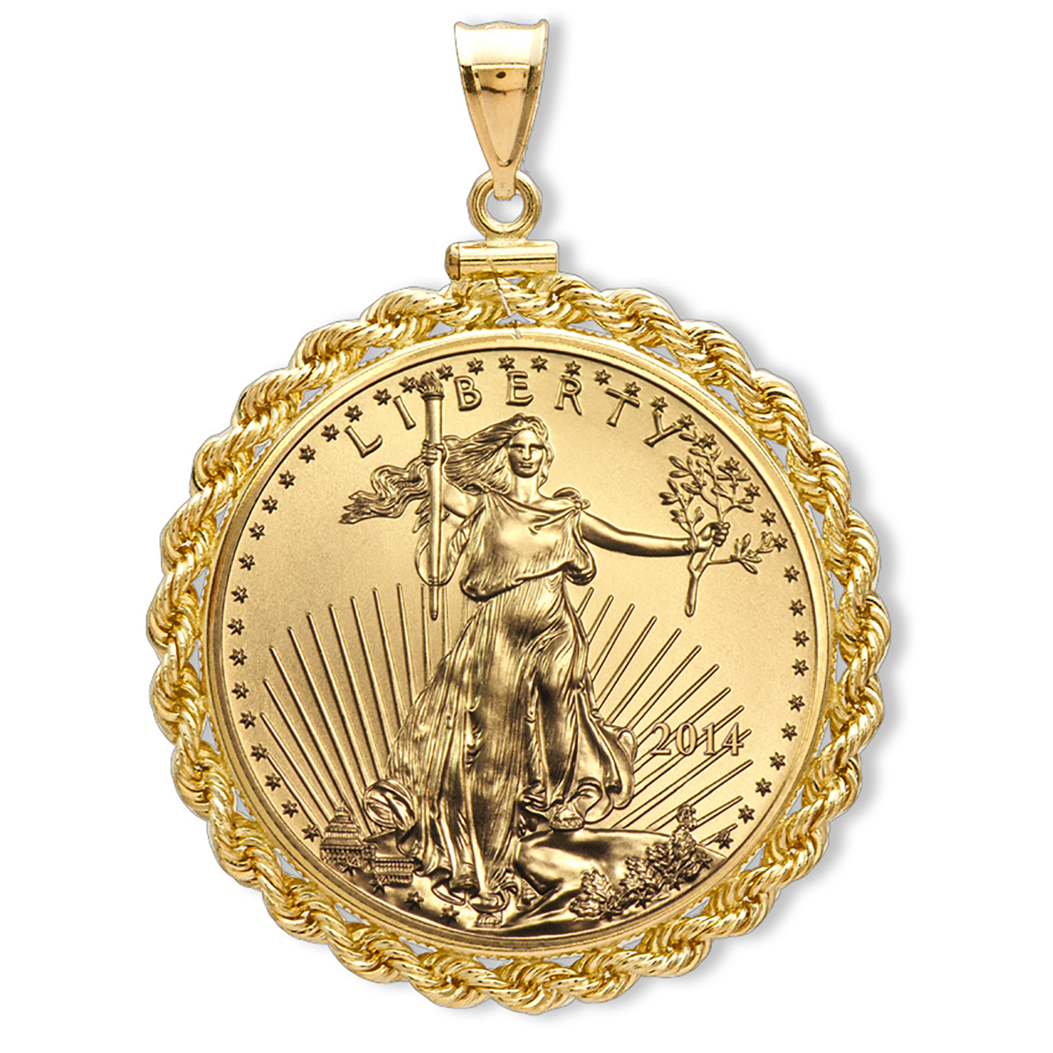 2014 1/10 oz Gold Eagle Pendant (Rope-ScrewTop Bezel)