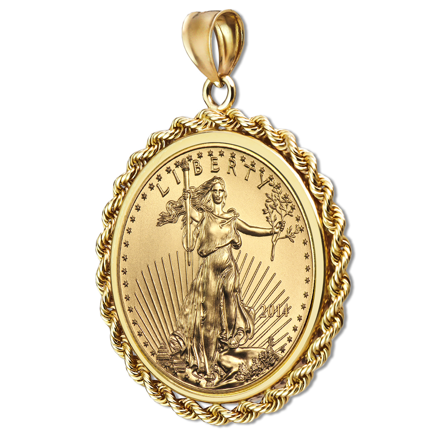 2014 1/10 oz Gold Eagle Pendant (Rope-Prong Bezel)