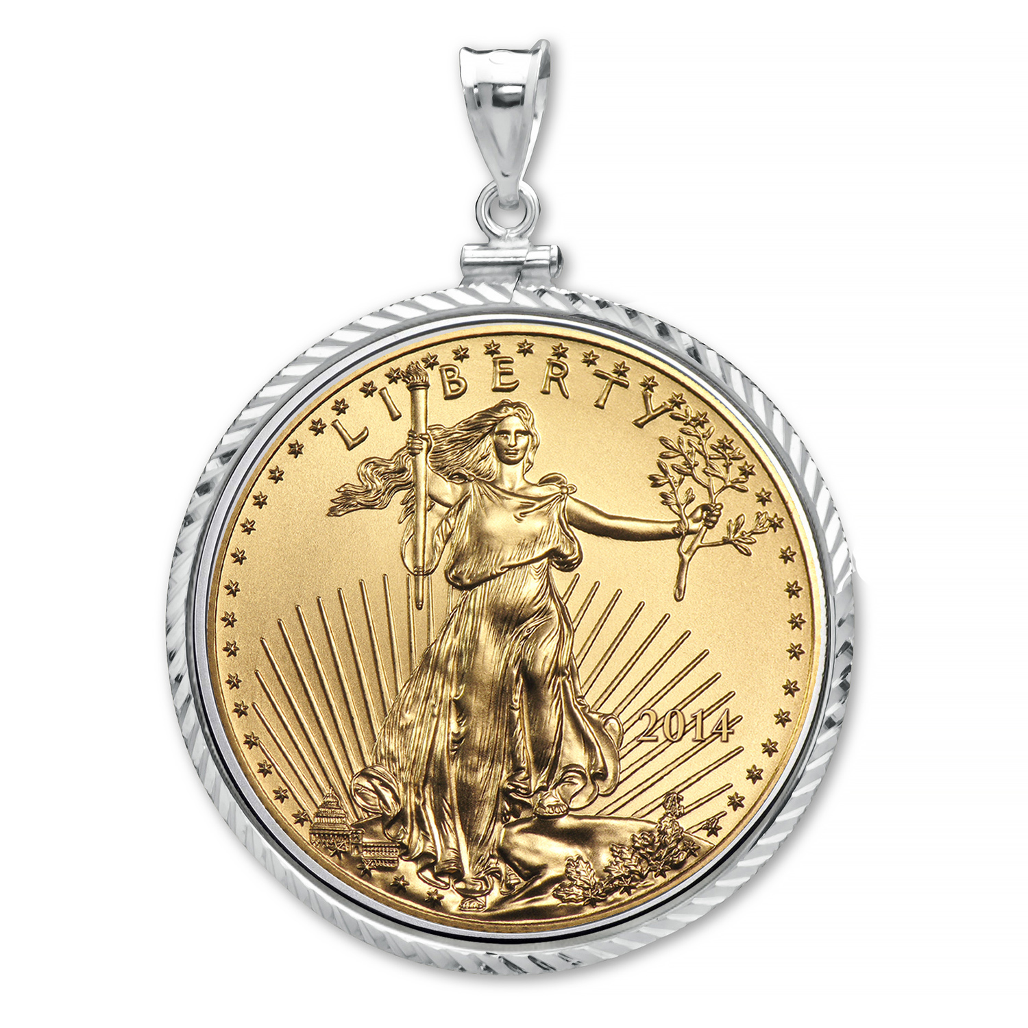 2014 1/10 oz Gold Eagle White Gold Pendant (Diamond-ScrewTop Bzl)