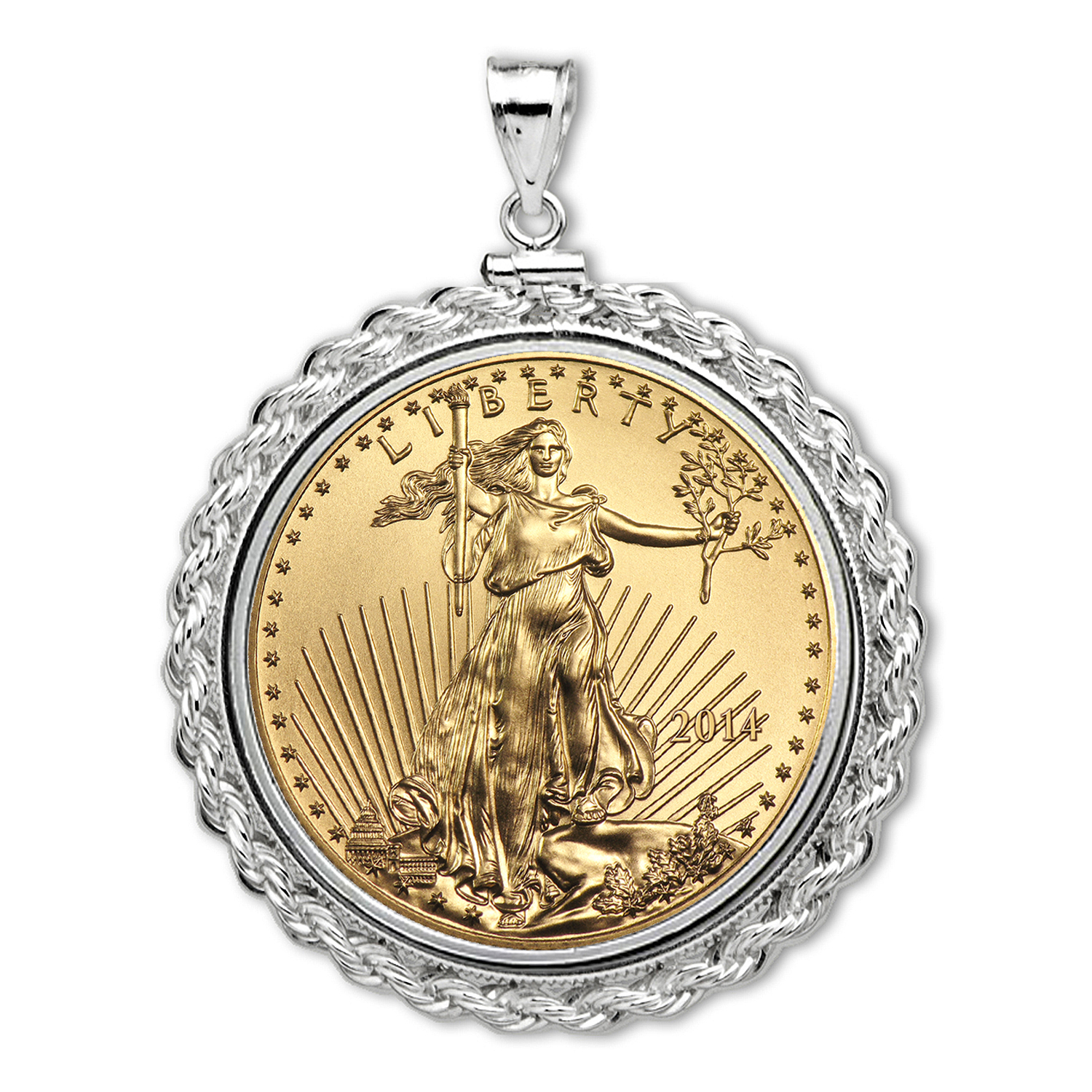 2014 1/10 oz Gold Eagle White Gold Pendant (Rope-ScrewTop Bezel)