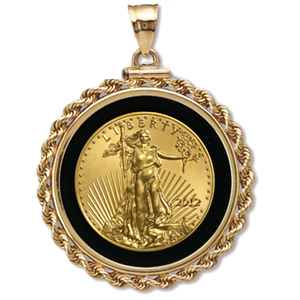 2014 1/10 oz Gold Eagle Pendant (Onyx Rope-ScrewTop Bezel)