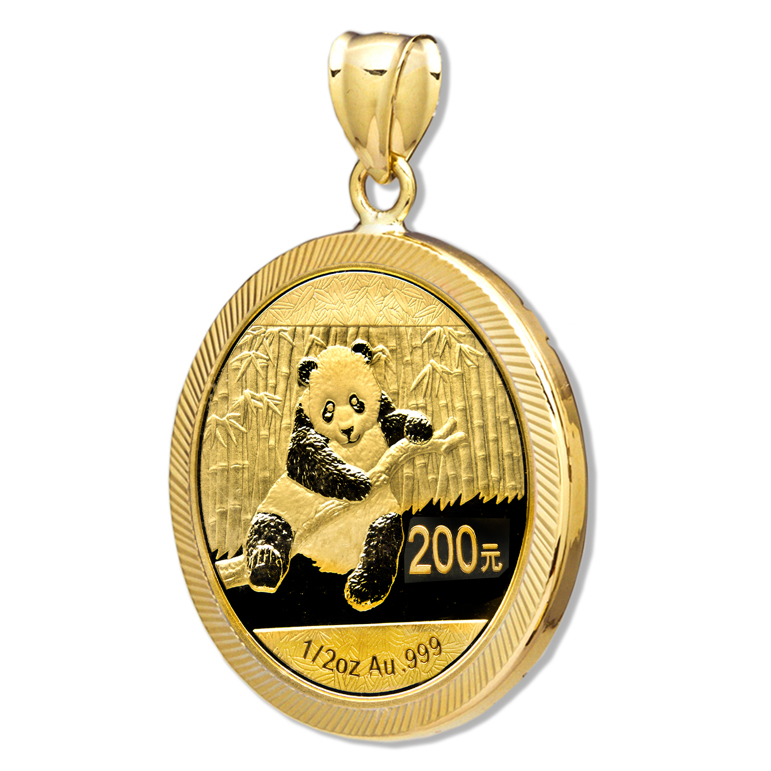 2014 1/2 oz Gold Panda Pendant (Diamond-Prong Bezel)