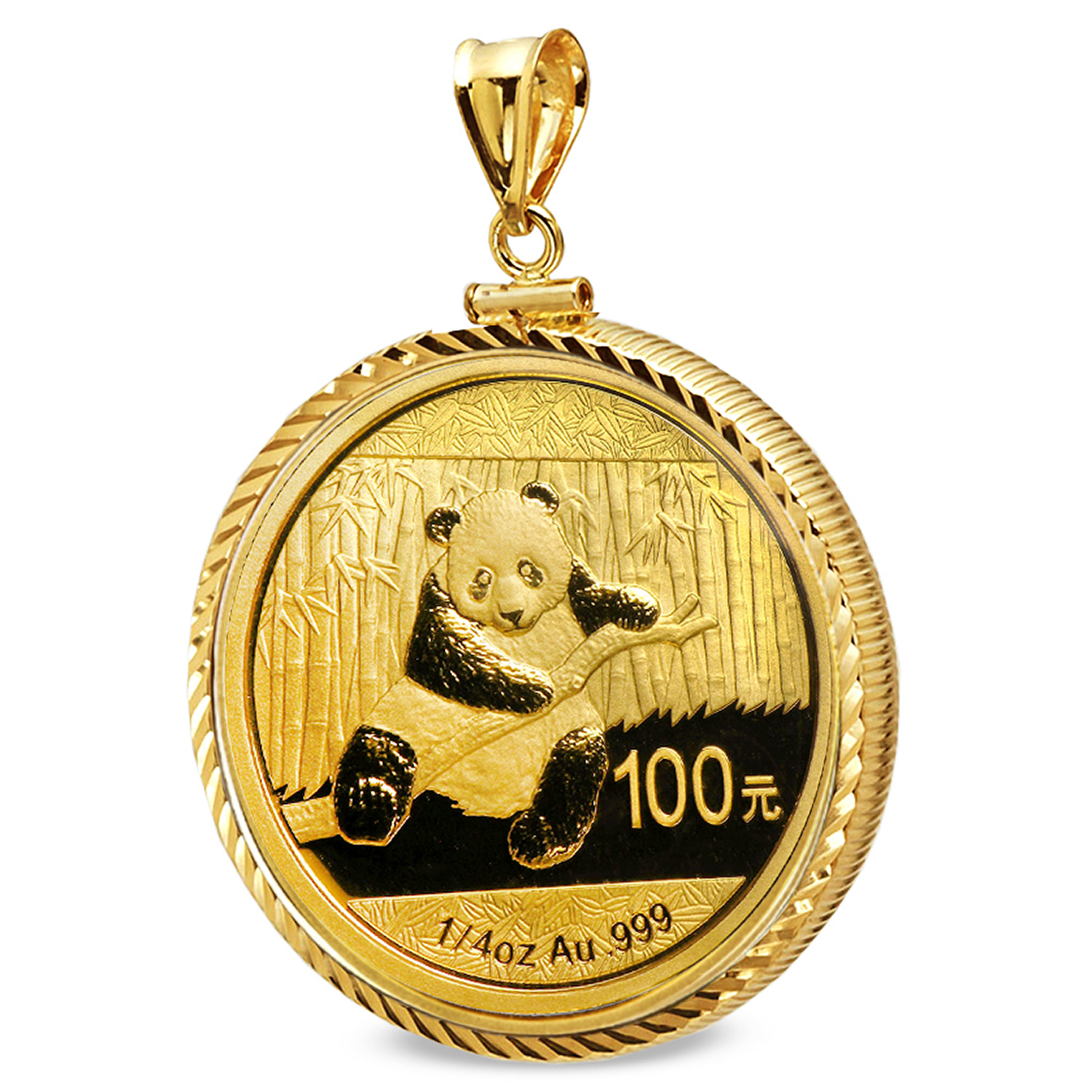 2014 1/4 oz Gold Panda Pendant (Diamond-ScrewTop Bezel)