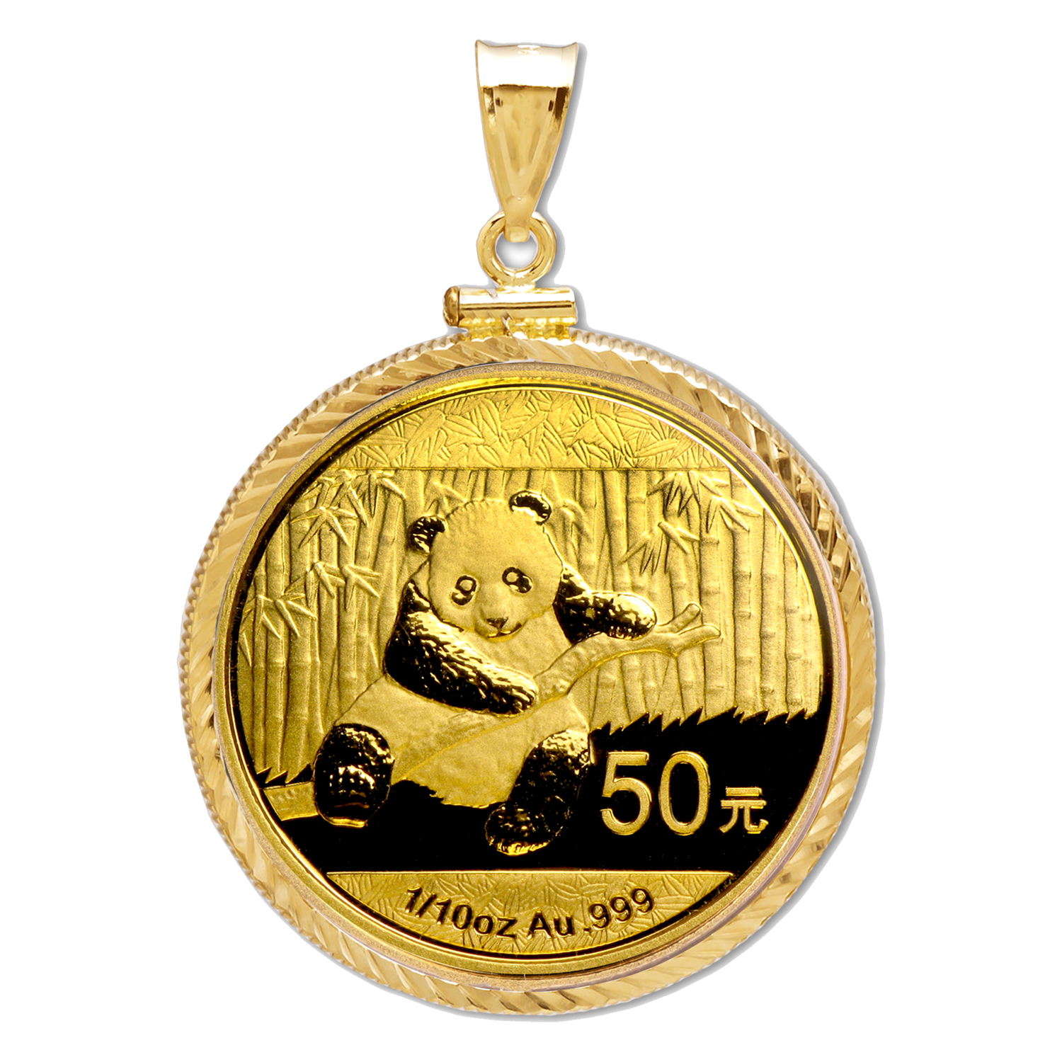 2014 1/10 oz Gold Panda Pendant (Diamond-ScrewTop Bezel)