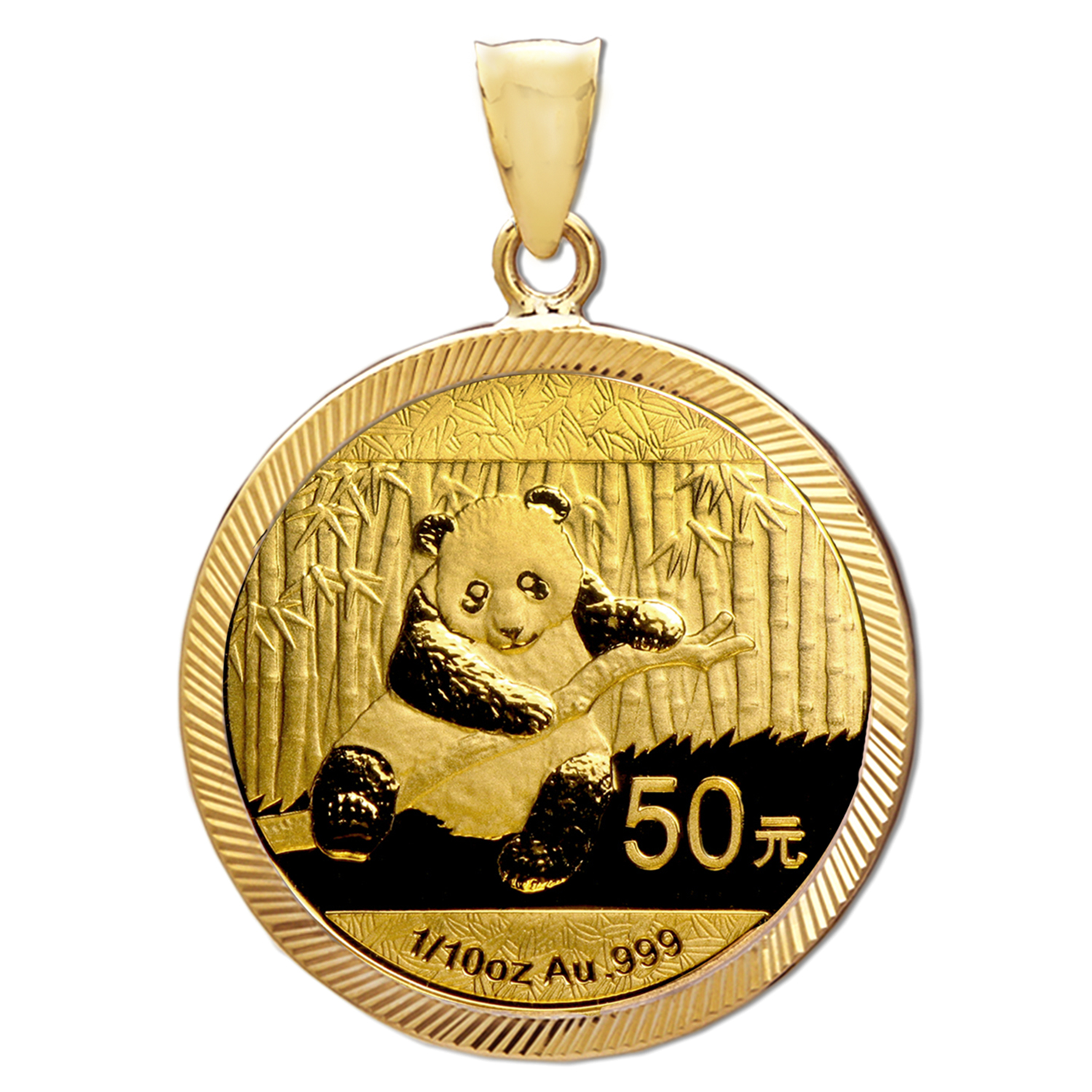 2014 1/10 oz Gold Panda Pendant (Diamond-Prong Bezel)