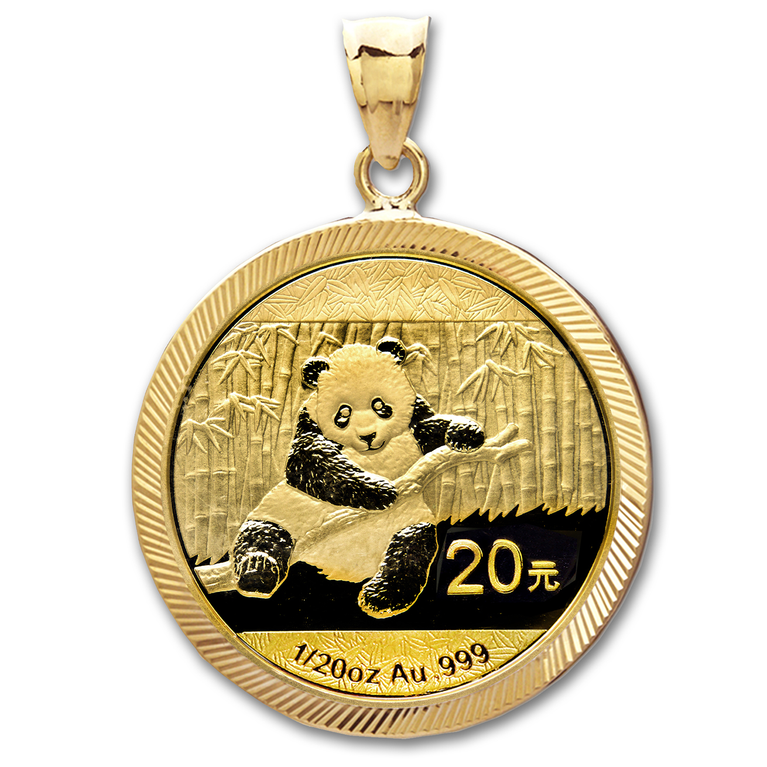 2014 1/20 oz Gold Panda Pendant (Diamond-Prong Bezel)