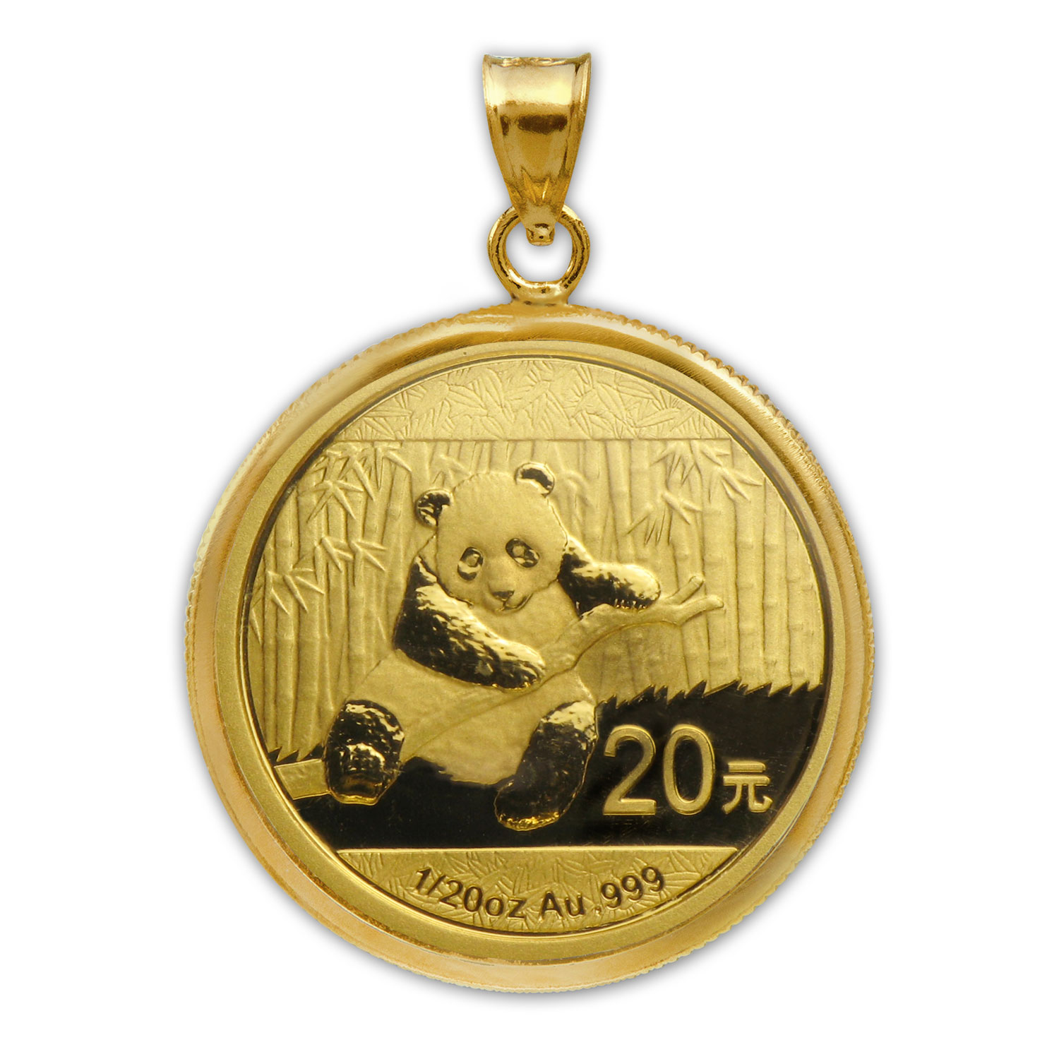 2014 1/20 oz Gold Panda Pendant (Polished-Prong Bezel)