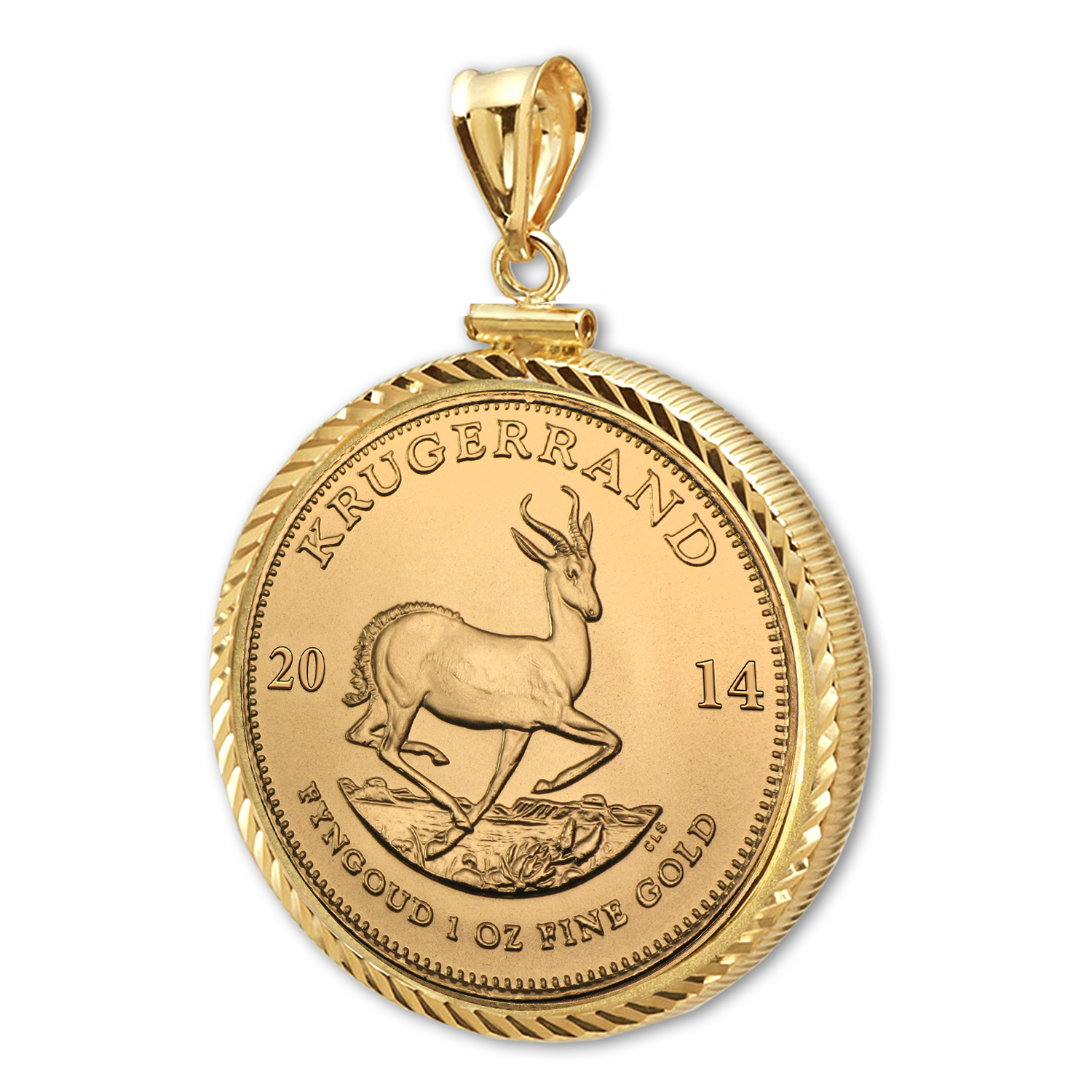 2014 1 oz Gold Krugerrand Pendant (Diamond-ScrewTop Bezel)