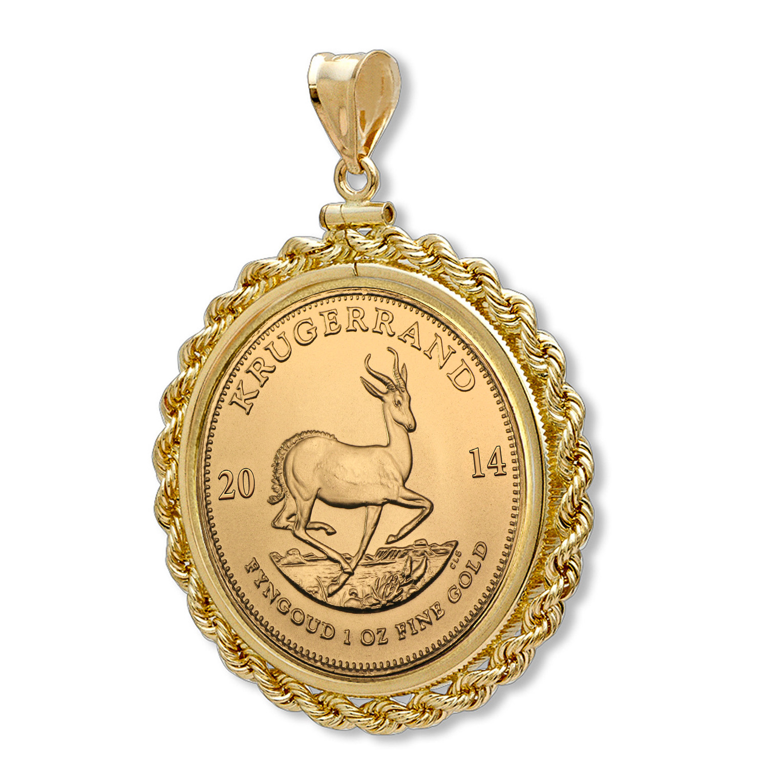 2014 1 oz Gold Krugerrand Pendant (Rope-ScrewTop Bezel)