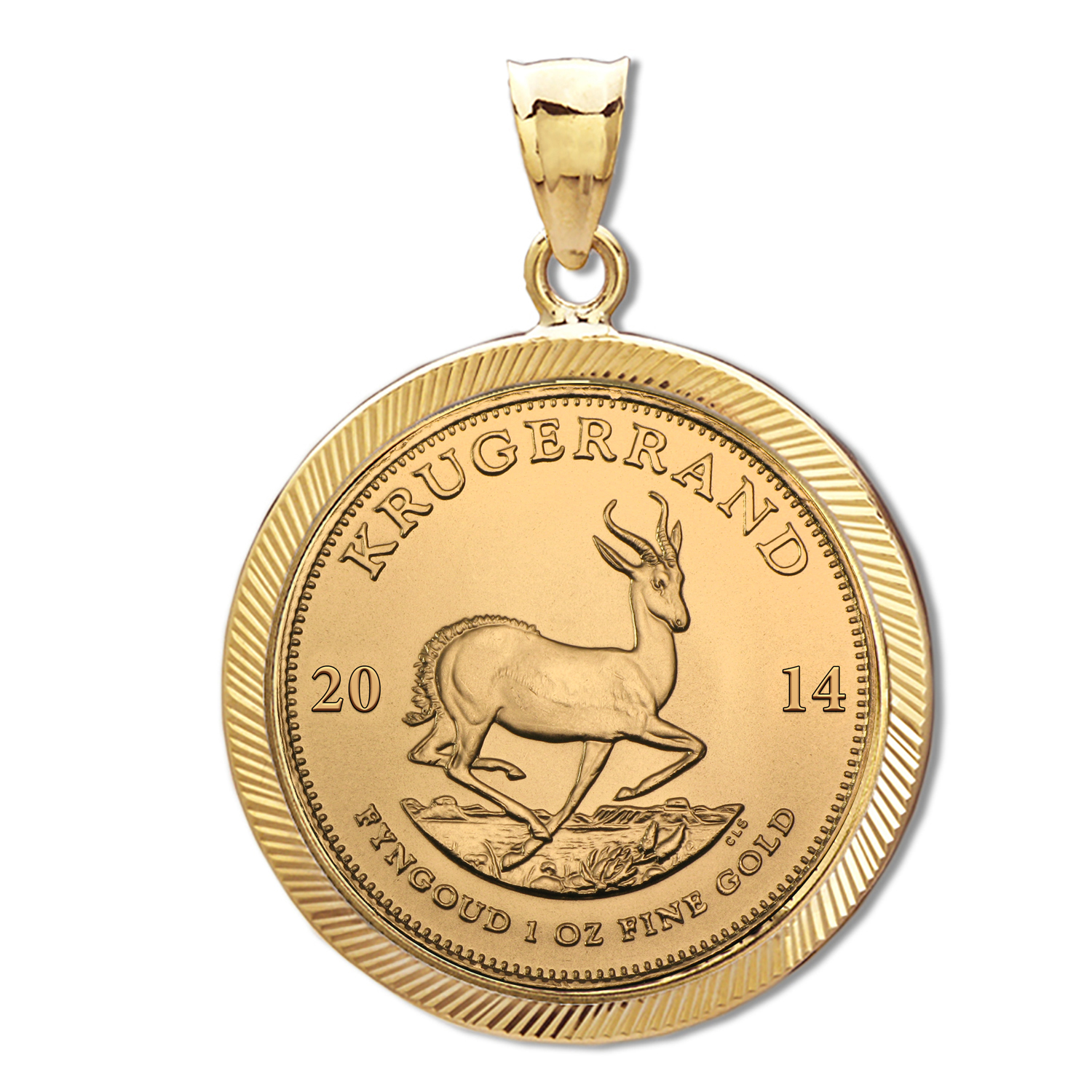 2014 1 oz Gold Krugerrand Pendant (Diamond-Prong Bezel)