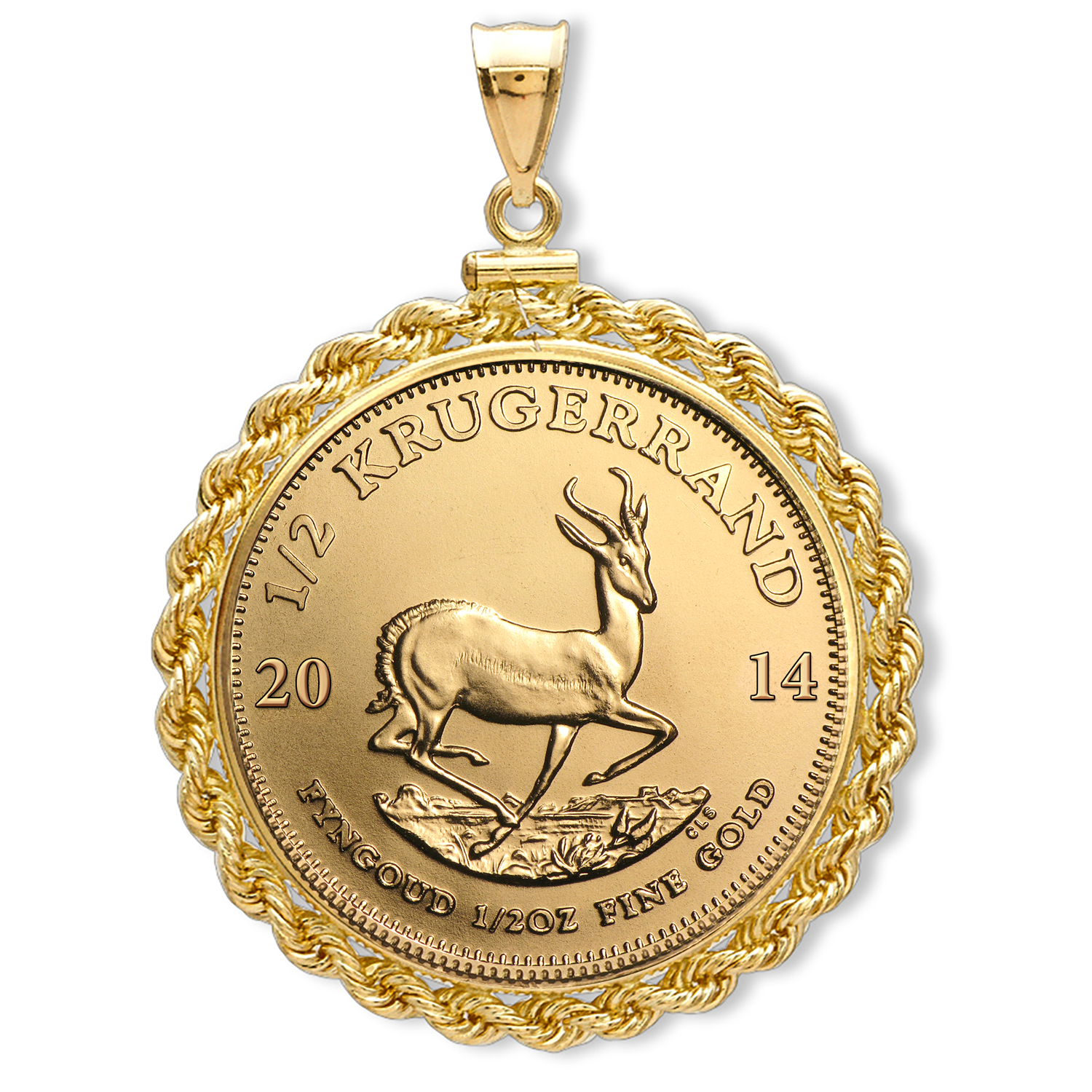 2014 1/2 oz Gold Krugerrand Pendant (Rope-ScrewTop Bezel)