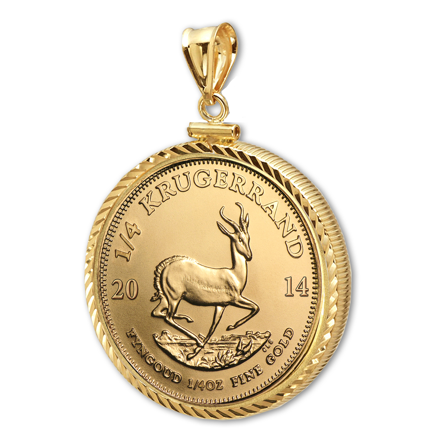 2014 1/4 oz Gold Krugerrand Pendant (Diamond-ScrewTop Bezel)