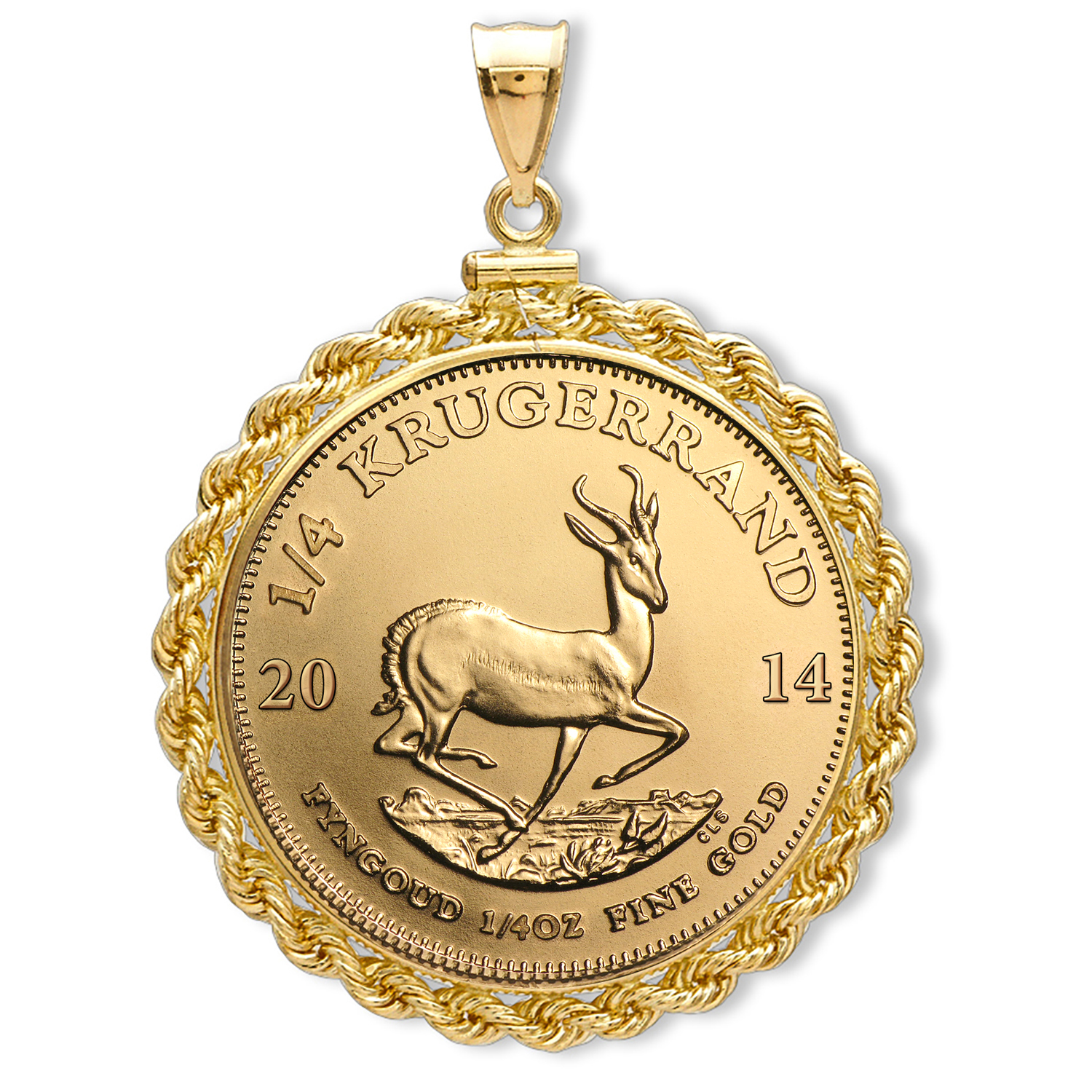 2014 1/4 oz Gold Krugerrand Pendant (Rope-ScrewTop Bezel)
