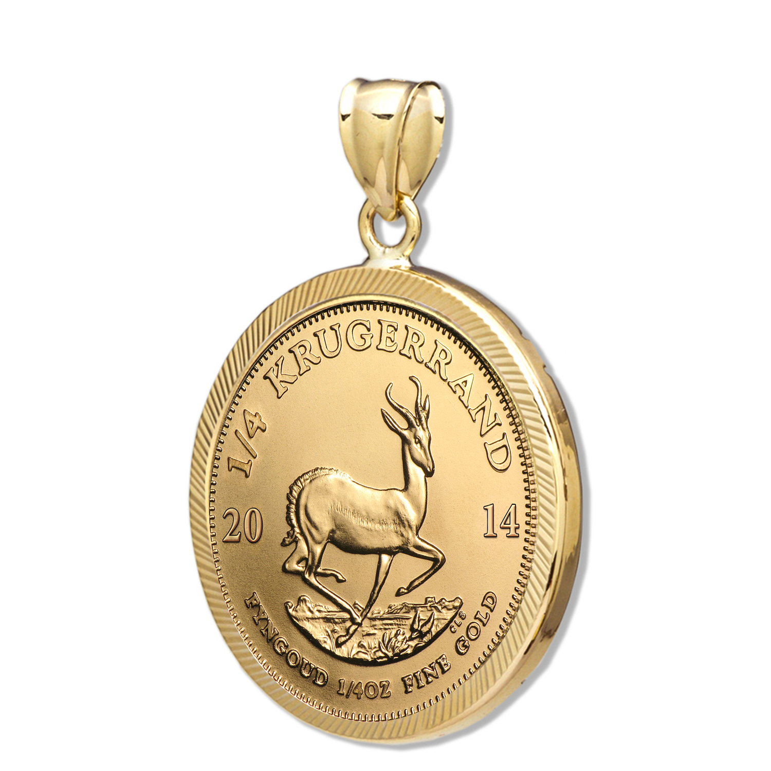 2014 1/4 oz Gold Krugerrand Pendant (Diamond-Prong Bezel)