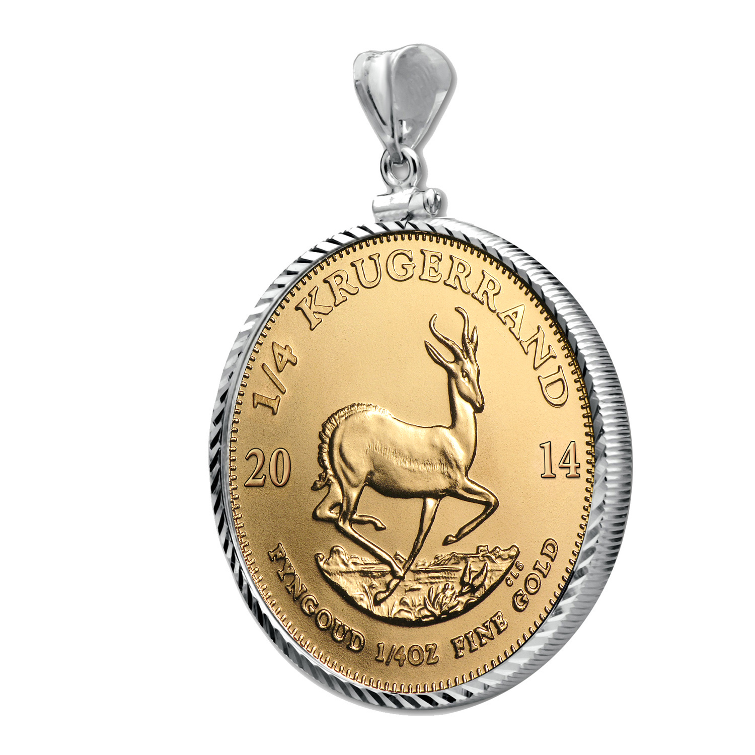 2014 1/4 oz Gold Krugerrand White Gold Pendant (Diamond-ScrewTop)