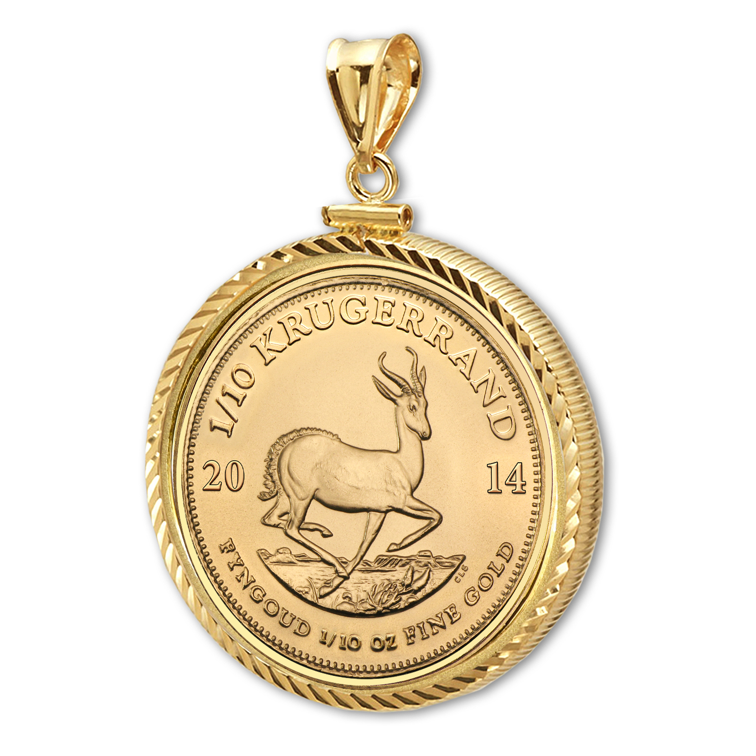 2014 1/10 oz Gold Krugerrand Pendant (Diamond-ScrewTop Bezel)