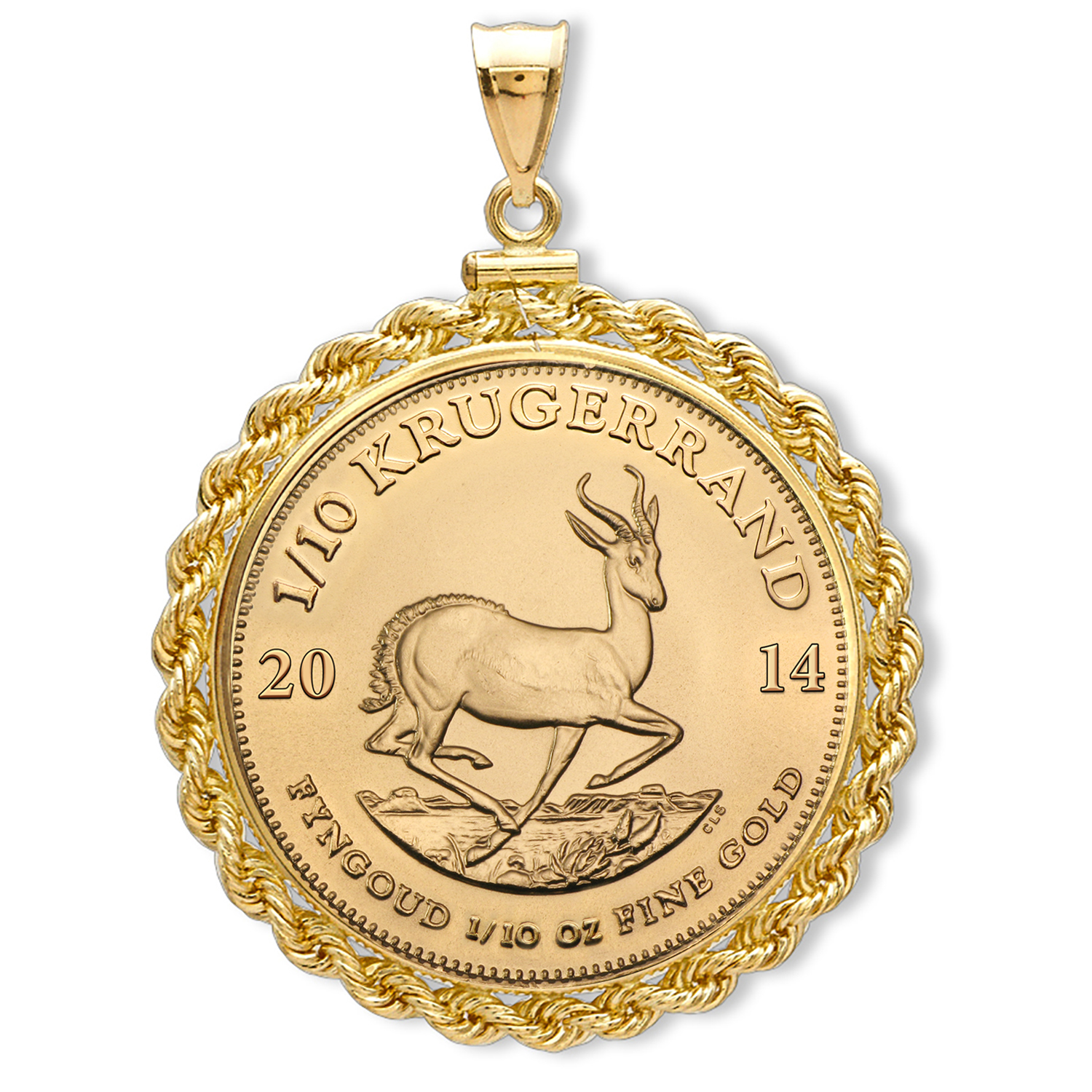 2014 1/10 oz Gold Krugerrand Pendant (Rope-ScrewTop Bezel)
