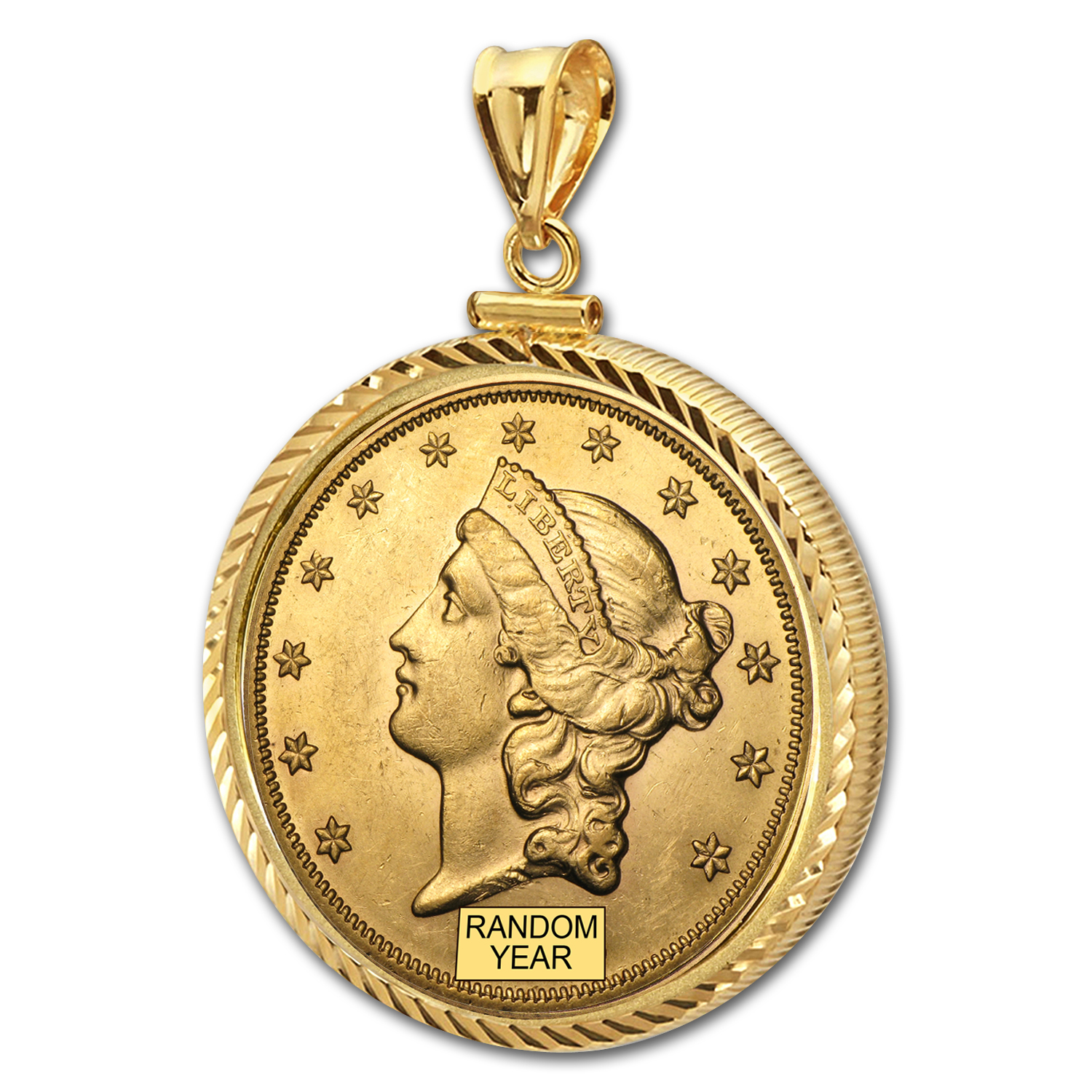 $20 Liberty Gold Double Eagle Pendant (Diamond-ScrewTop Bezel)