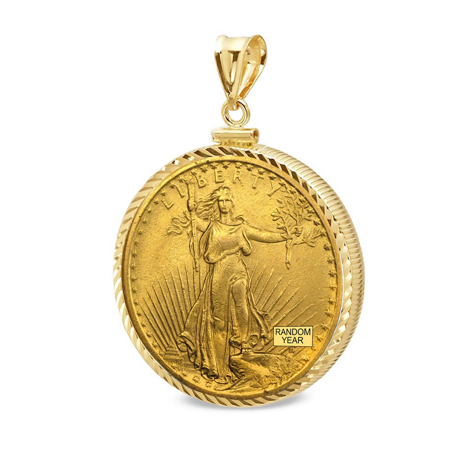 $20 St. Gaudens Gold Dbl Eagle Pendant (Diamond-ScrewTop Bezel)