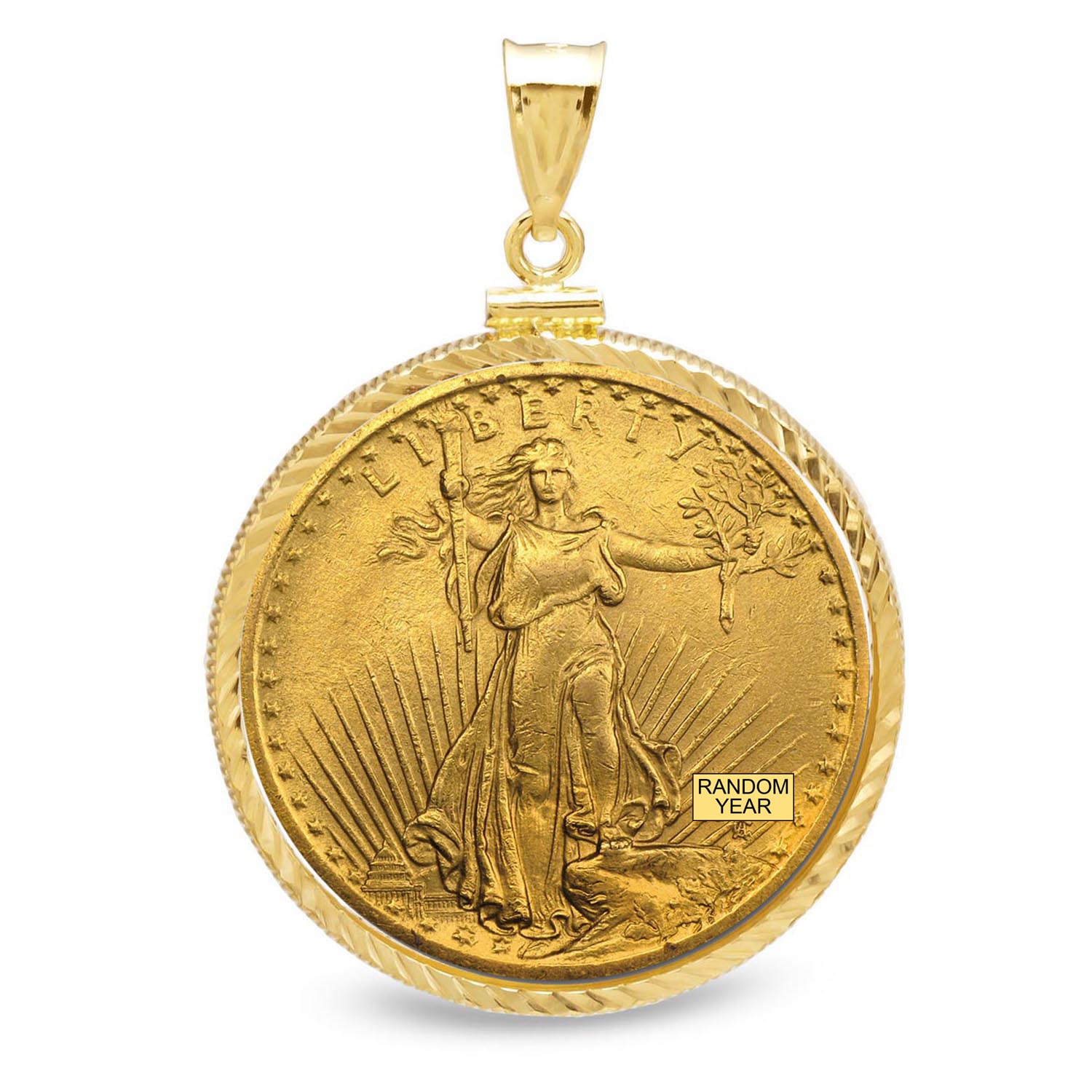 $20 St. Gaudens Gold Double Eagle Pendant(Diamond-ScrewTop Bezel)