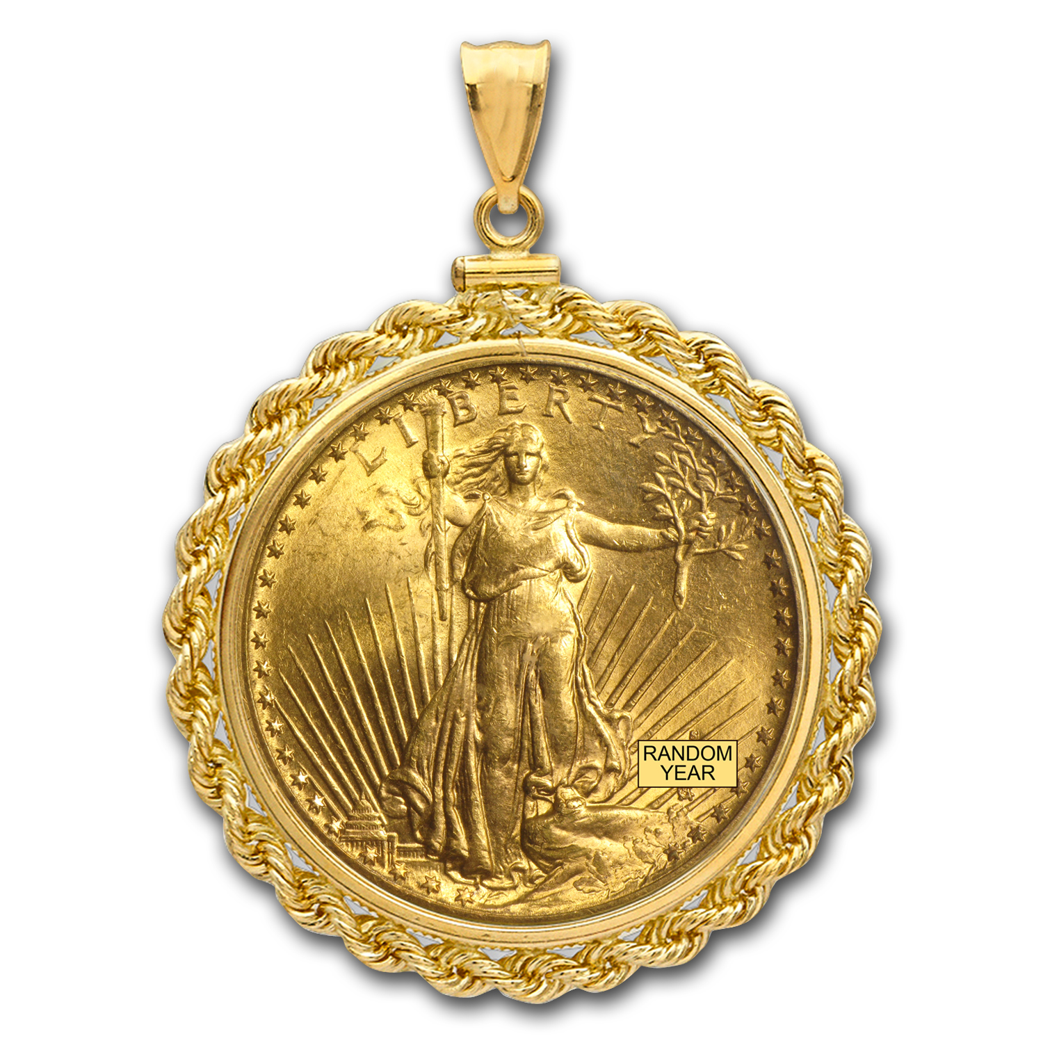 $20 St. Gaudens Gold Double Eagle Pendant (Rope-ScrewTop Bezel)