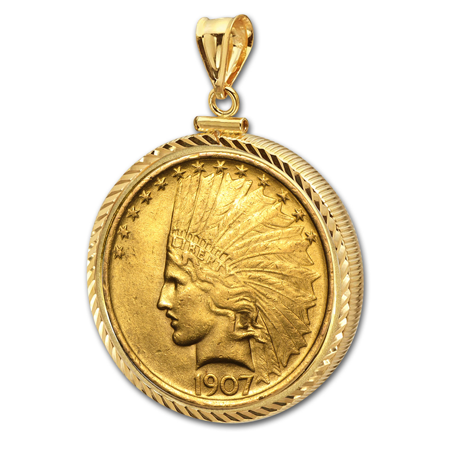 $10 Indian Gold Eagle Pendant (Diamond-ScrewTop Bezel)
