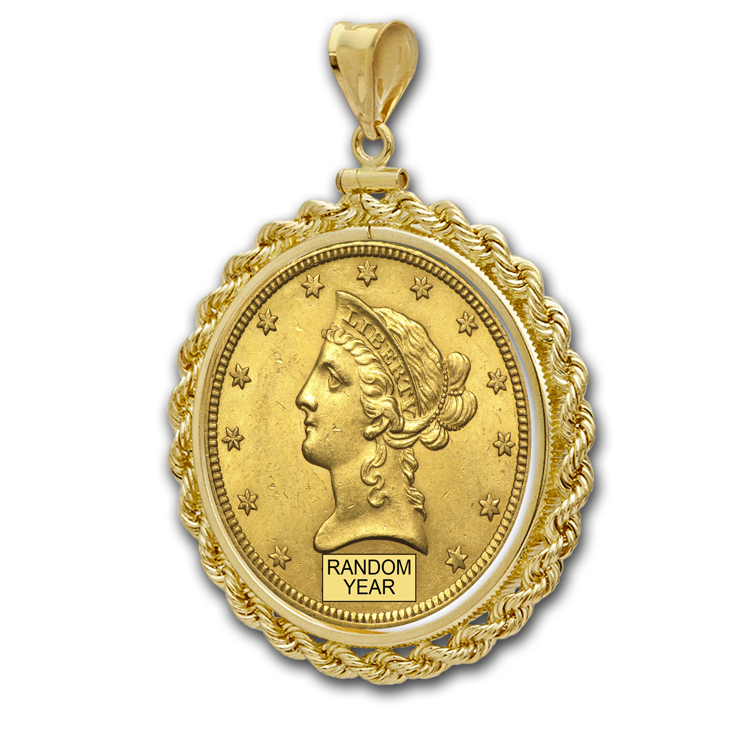 $10 Liberty Gold Eagle Pendant (Rope-ScrewTop Bezel)