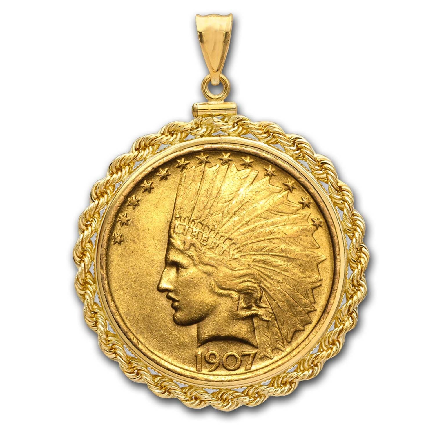 $10 Indian Gold Eagle Pendant (Rope-ScrewTop Bezel)
