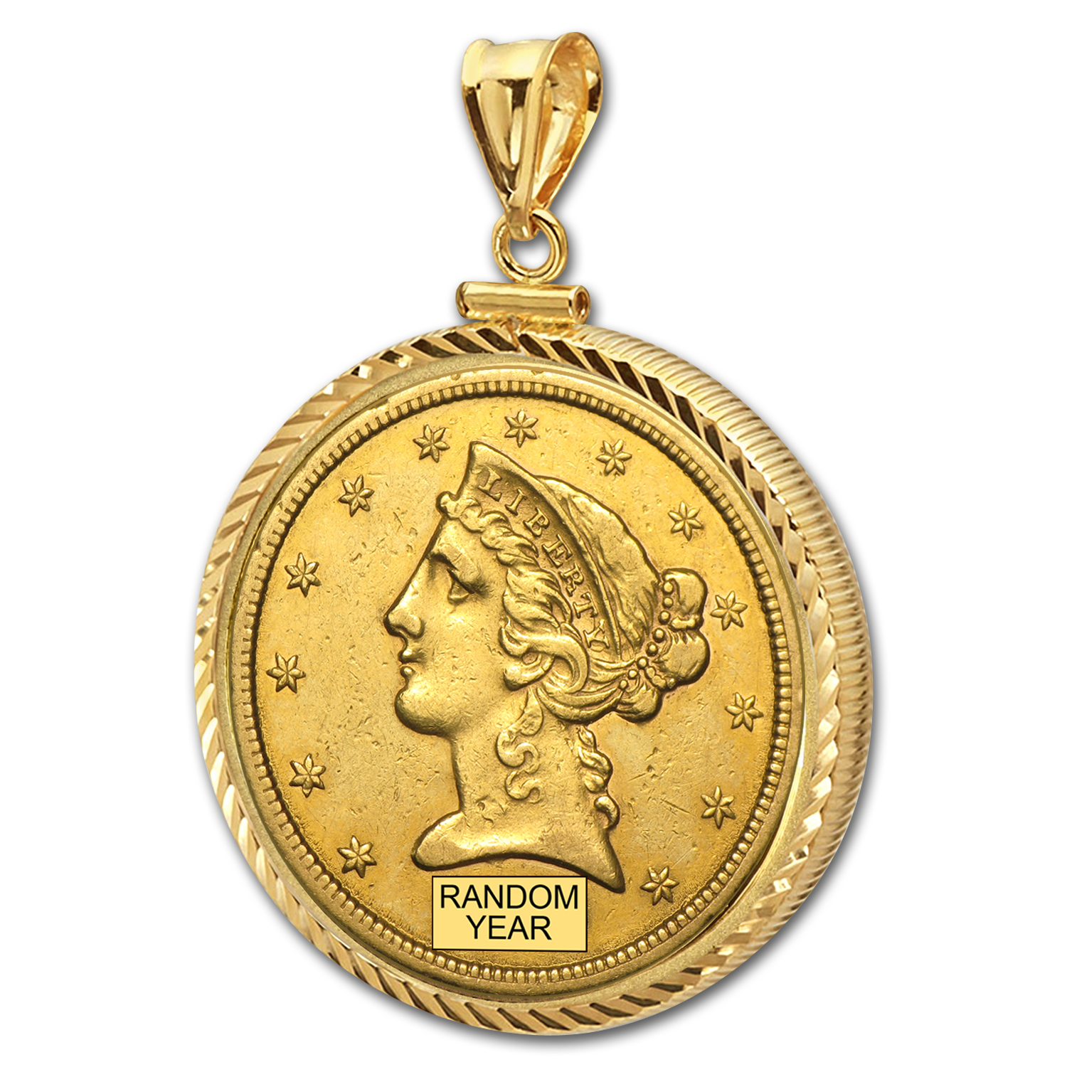 $5 Liberty Gold Half Eagle Pendant (Diamond-ScrewTop Bezel)