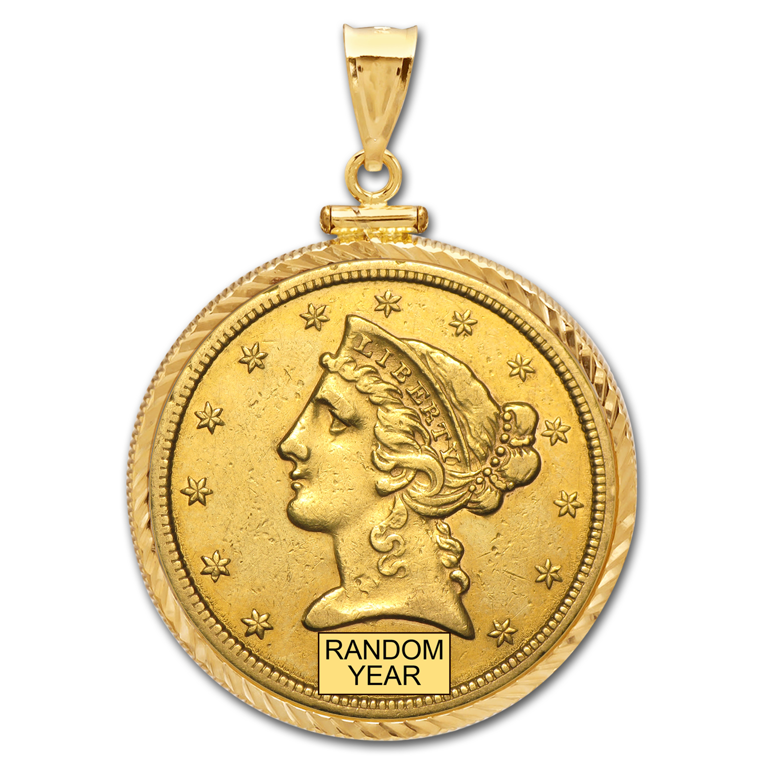 $5 Liberty Gold Half Eagle Pendant(Diamond-ScrewTop Bezel)
