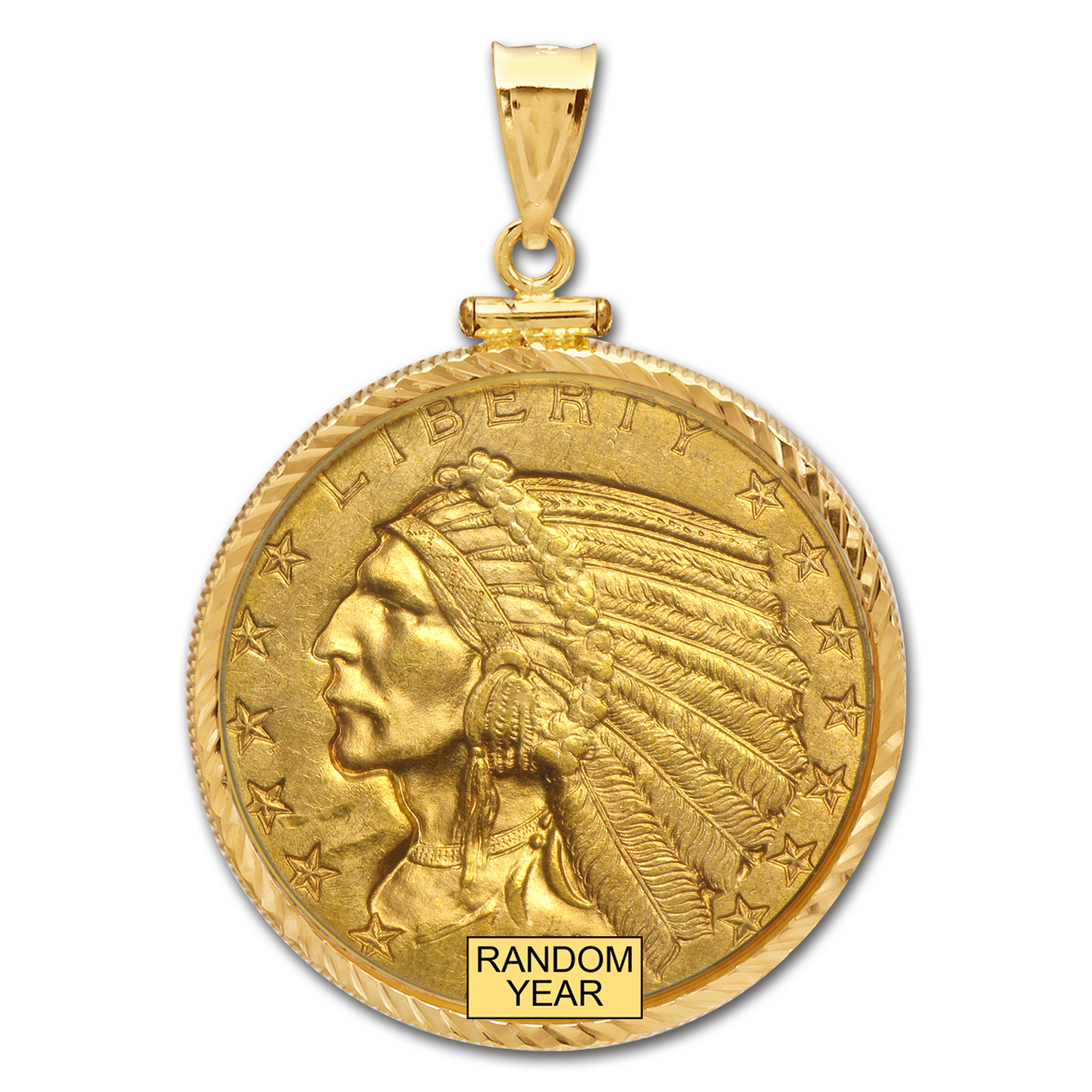 $5 Indian Gold Half Eagle Pendant (Diamond-ScrewTop Bezel)