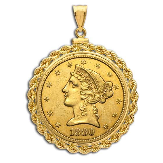 $5 Liberty Gold Half Eagle Pendant (Rope-ScrewTop Bezel)