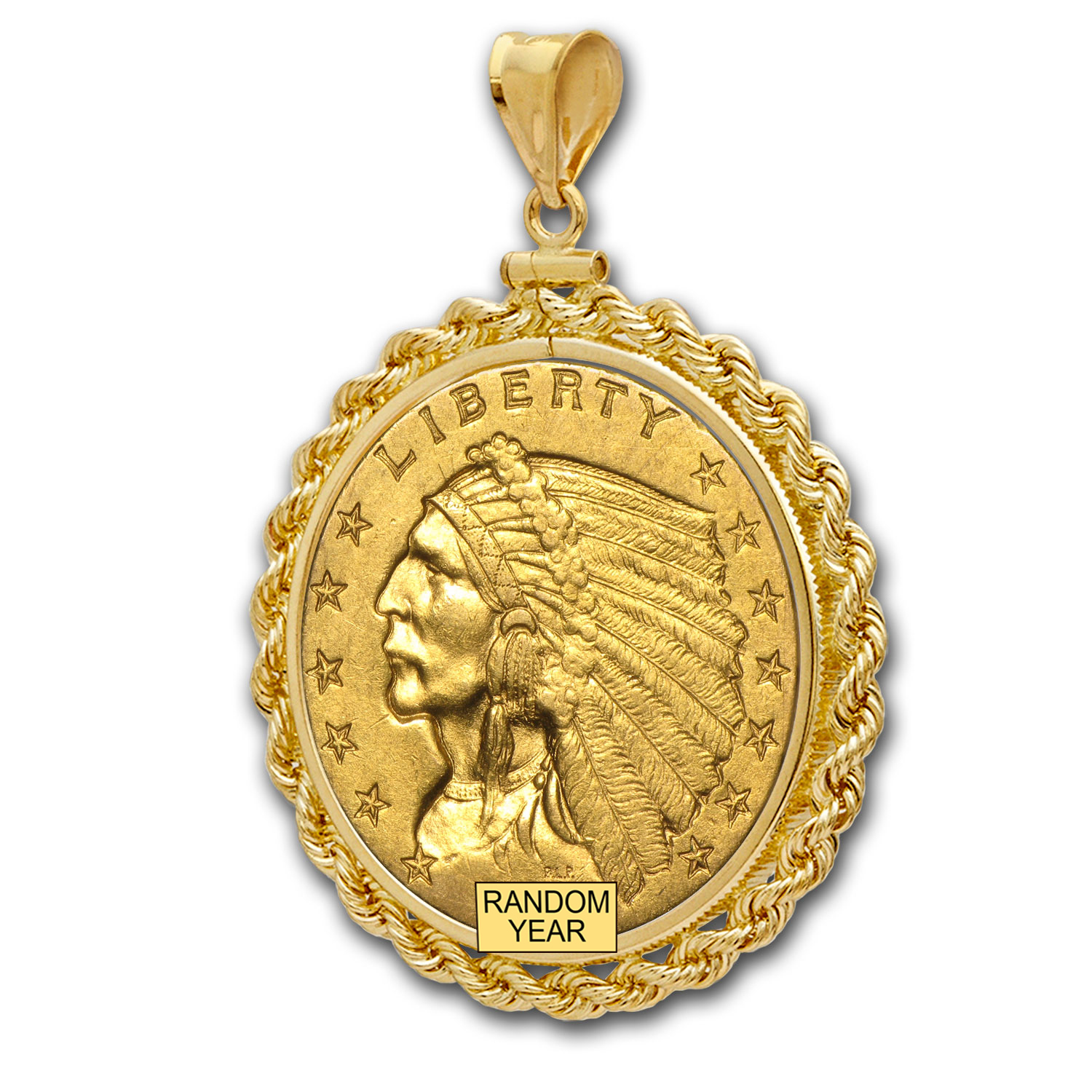 $2.50 Indian Gold Quarter Eagle Pendant (Rope-ScrewTop Bezel)