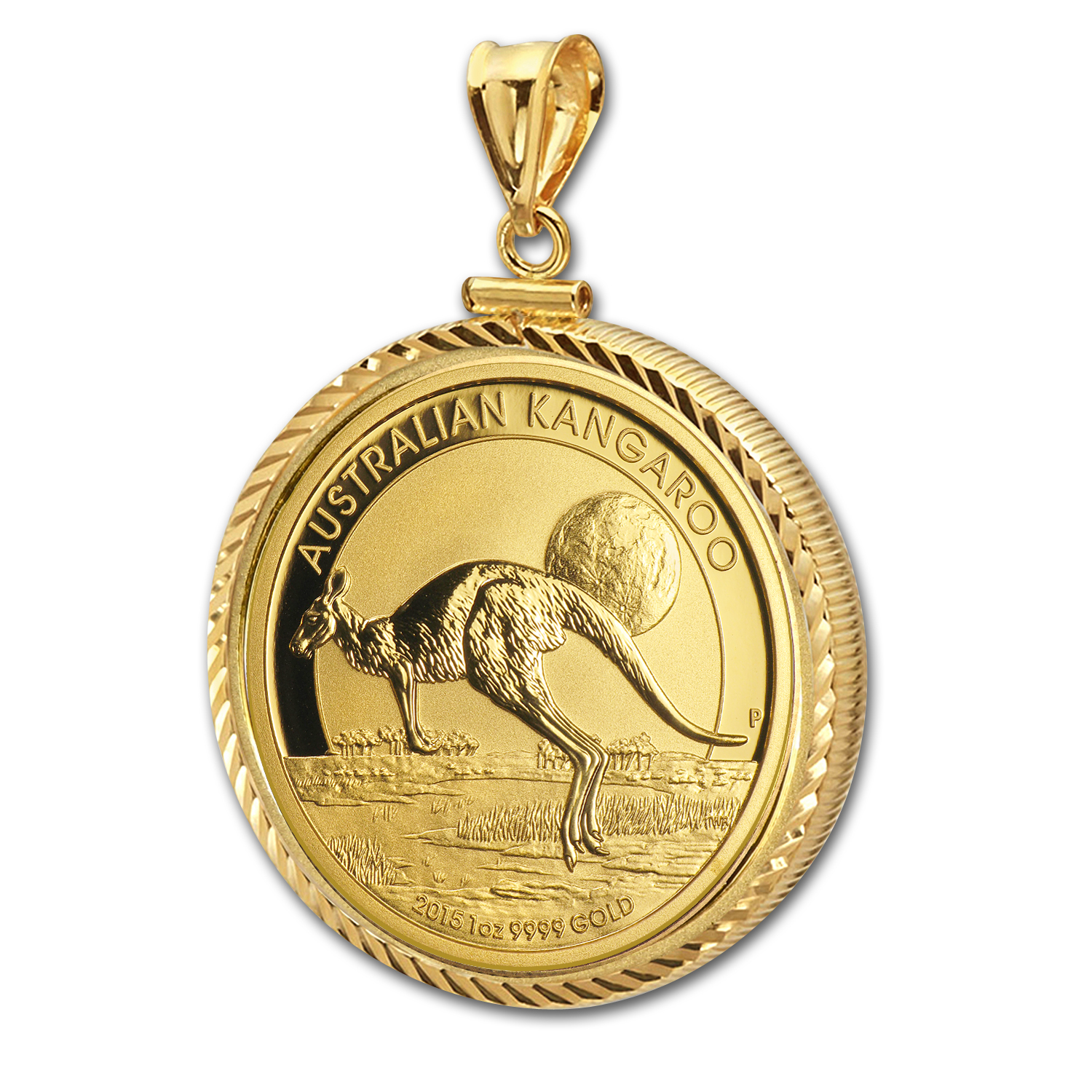 2014 1 oz Gold Kangaroo Pendant (Diamond-ScrewTop Bezel)