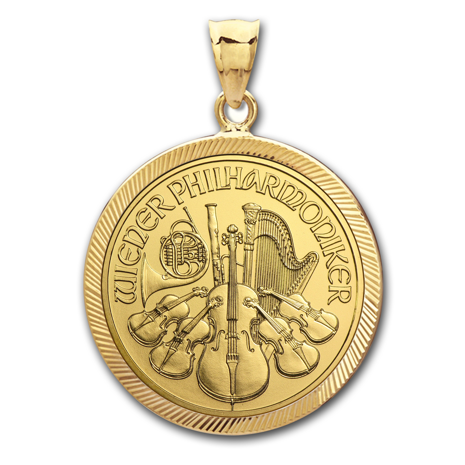 2014 1/4 oz Gold Philharmonic Pendant (Diamond-Prong Bezel)