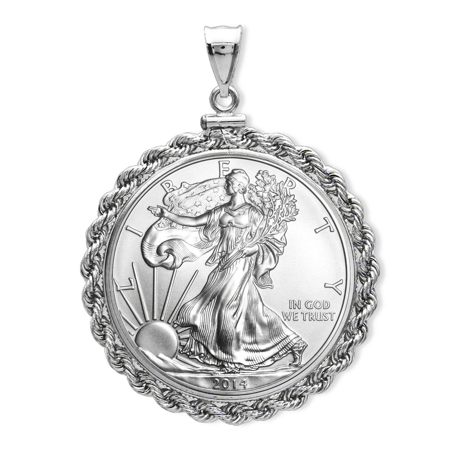 2014 1 oz Silver Eagle Pendant (Rope-ScrewTop Bezel)