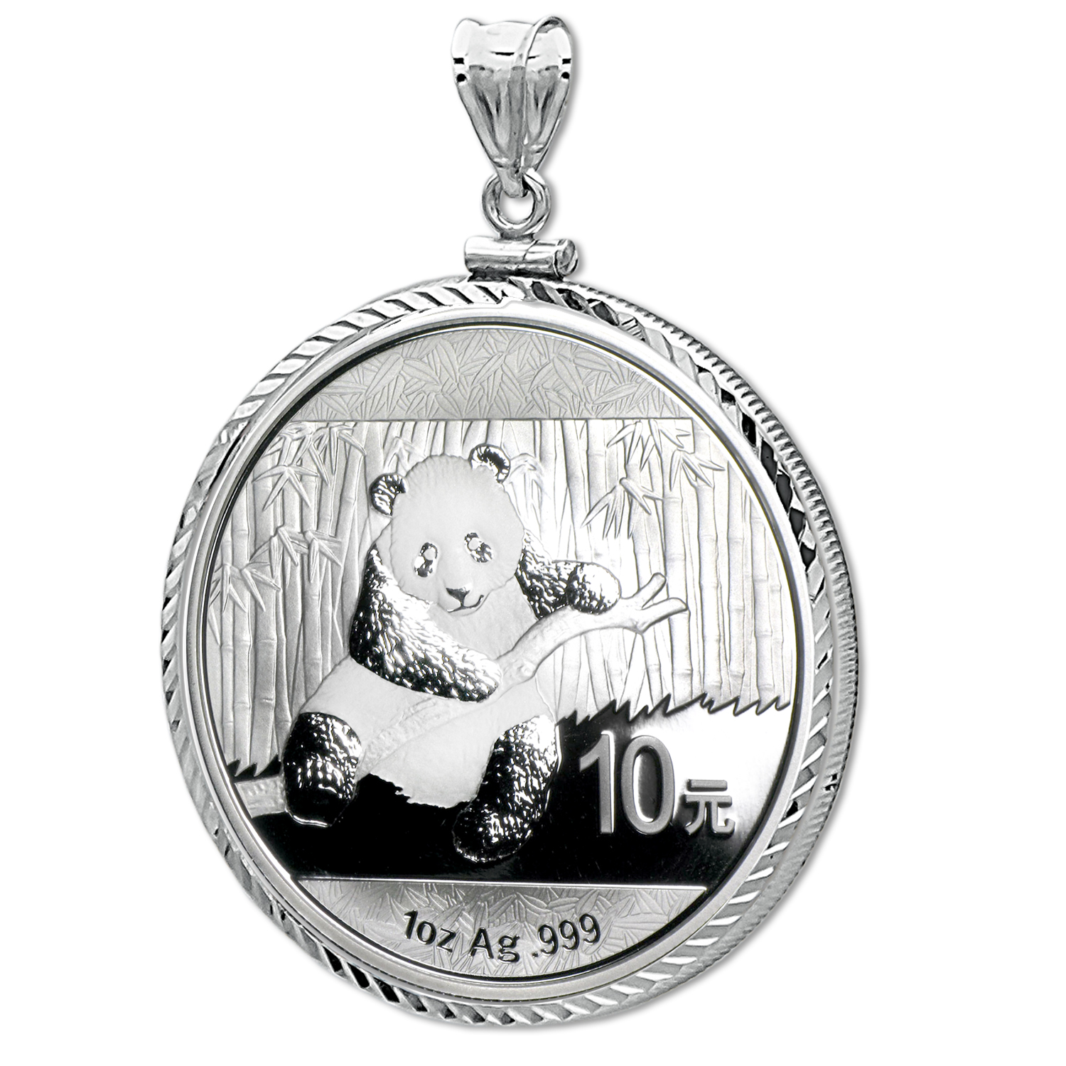 2014 1 oz Silver Panda Pendant (Diamond-ScrewTop Bezel)