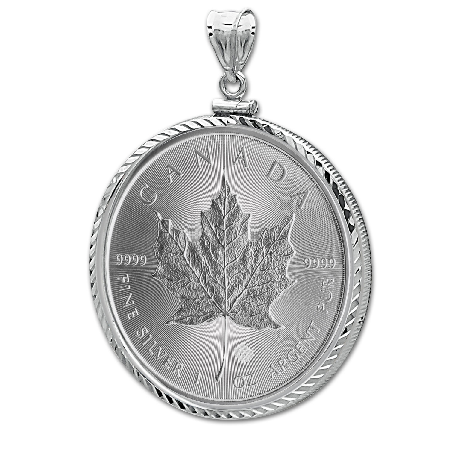 2014 1 oz Silver Maple Leaf Pendant (Diamond-ScrewTop Bezel)