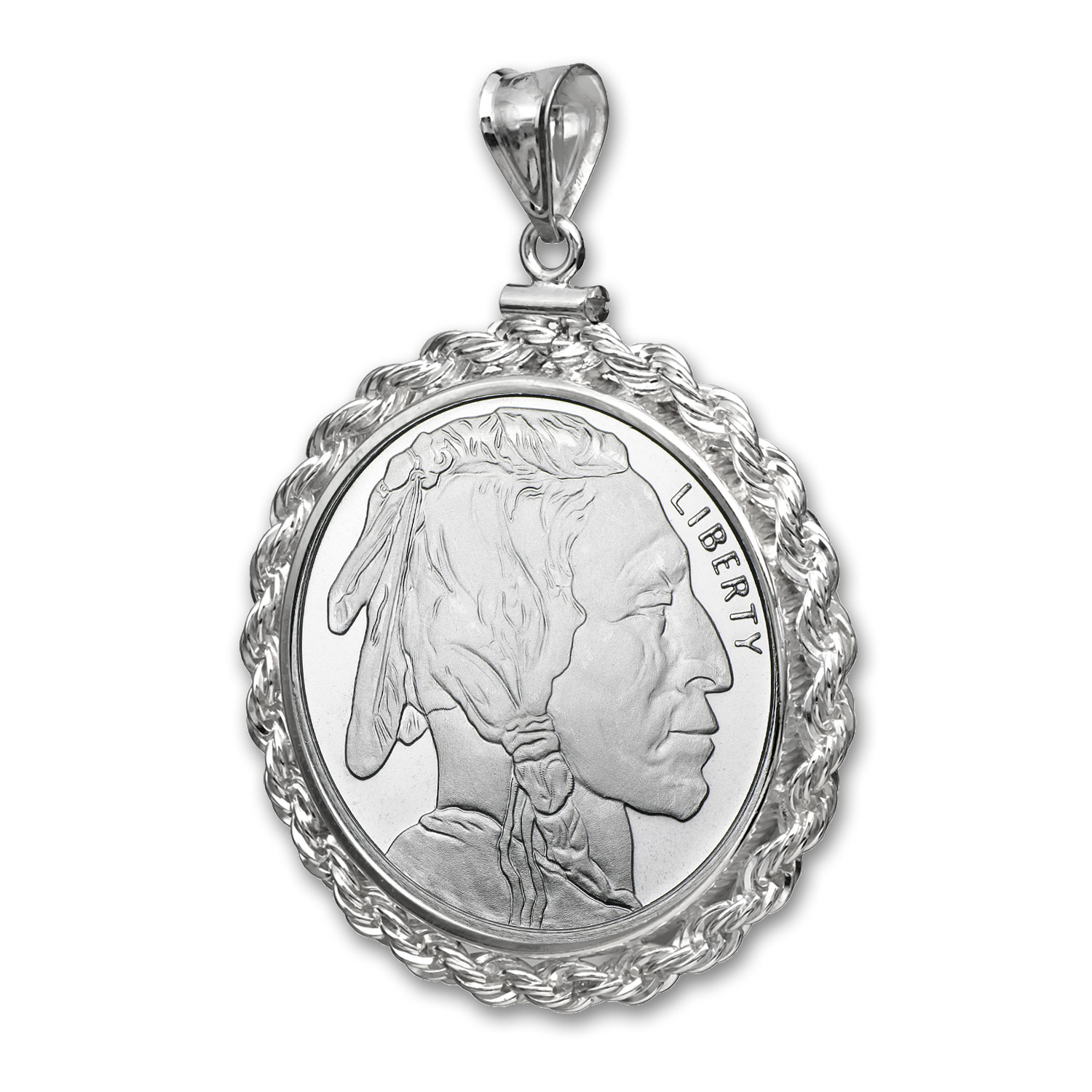 1 oz Silver Buffalo Pendant (Rope-ScrewTop Bezel)