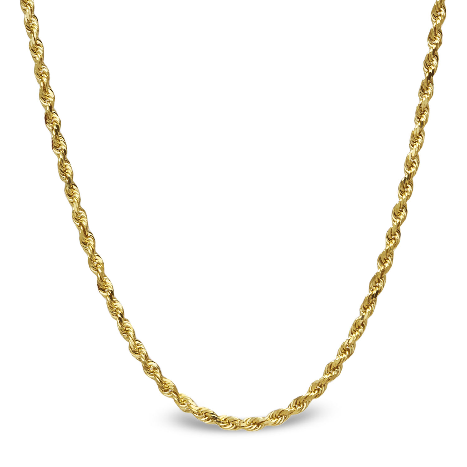 14k Gold Diamond Cut Rope Necklace - 16 in.