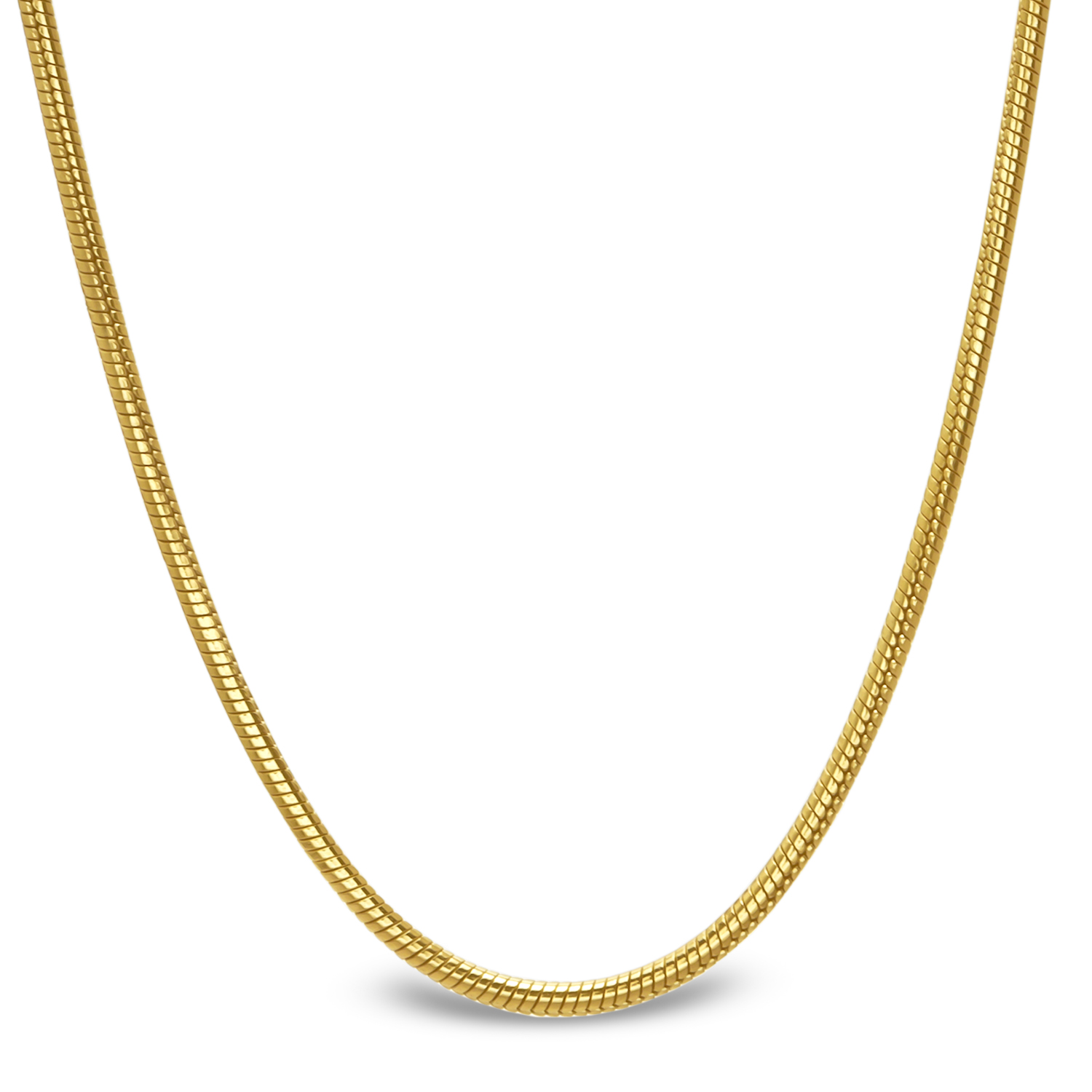 Classic Round Snake 14k Gold Necklace - 18 in.
