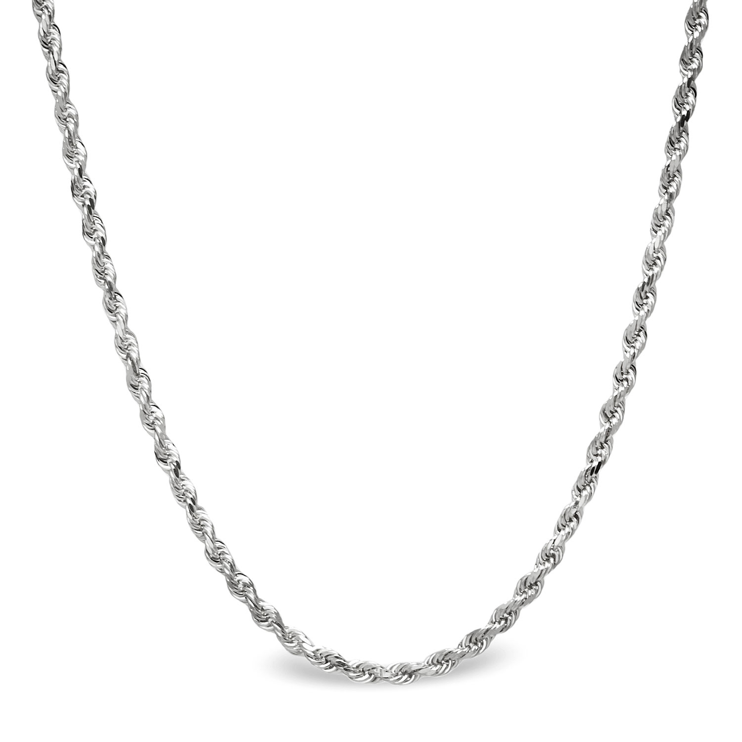 Diamond Cut Rope 14k White Gold Necklace - 18 in.