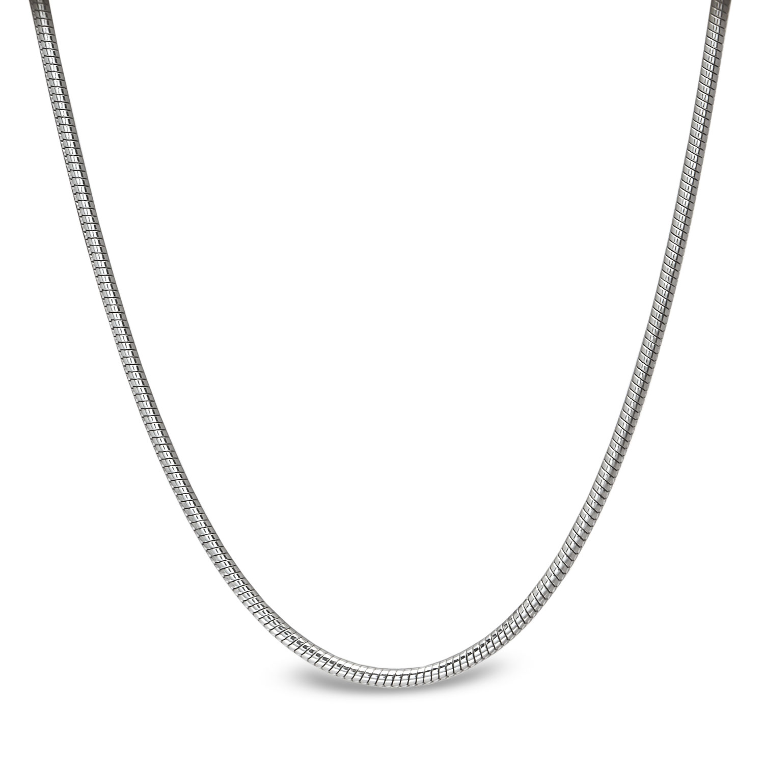 Classic Round Snake 14k White Gold Necklace - 16 in.