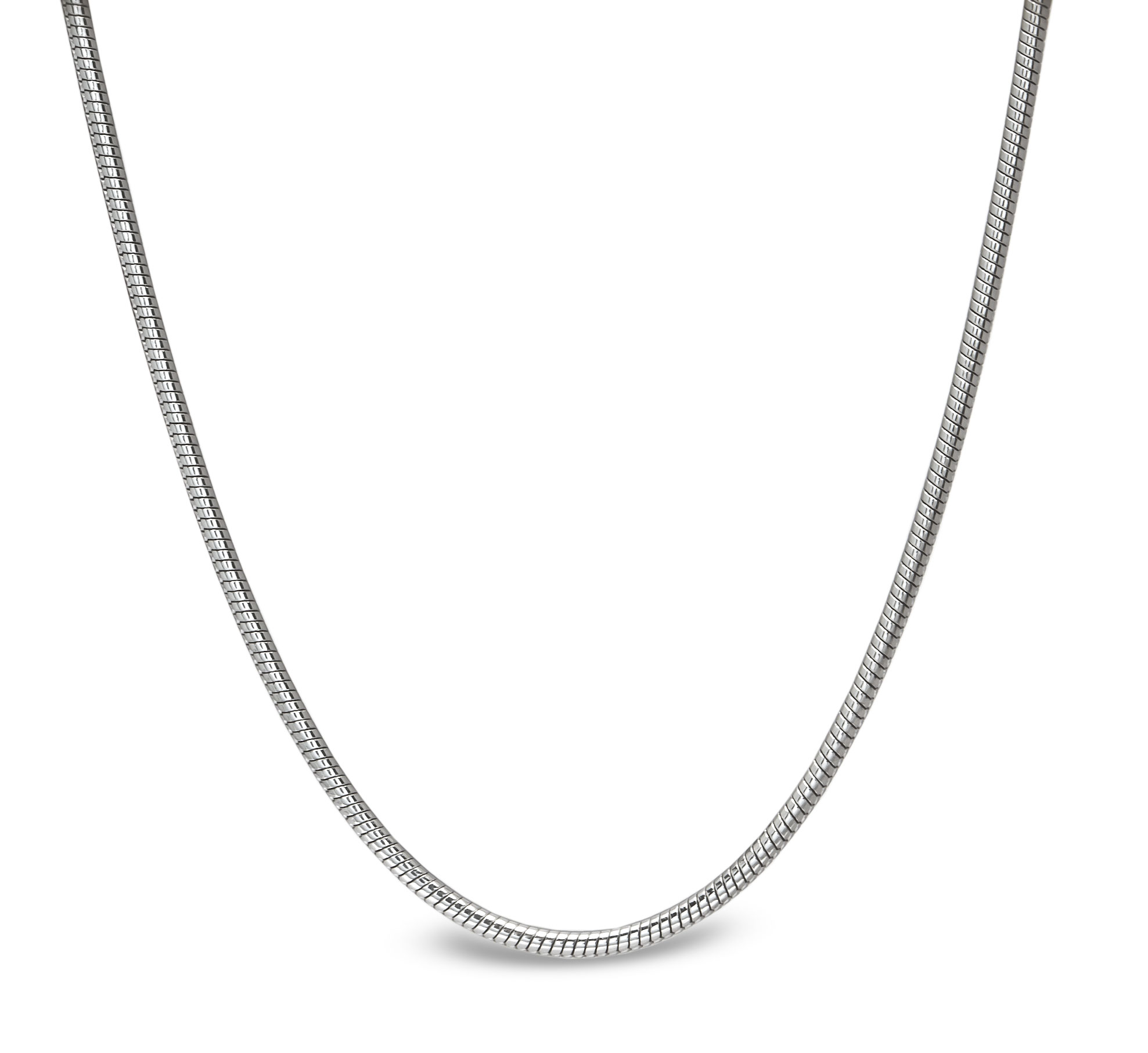 Classic Round Snake 14k White Gold Necklace - 18 in.