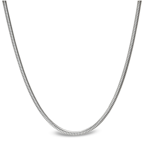 Classic Round Snake 14k White Gold Necklace - 24 in.